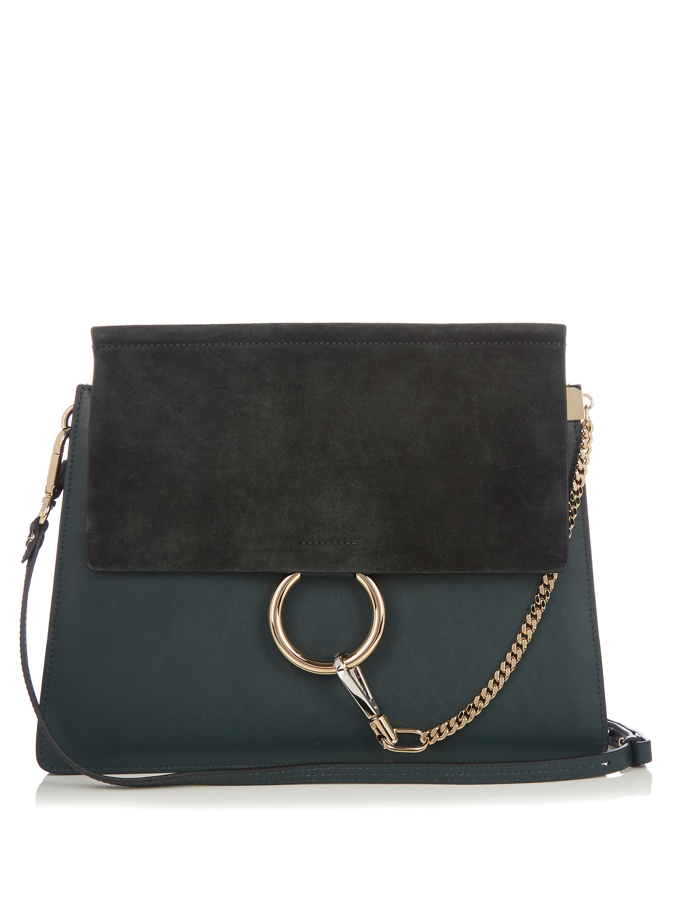 Chlo 233 Faye Medium Suede And Leather Shoulder Bag In Green