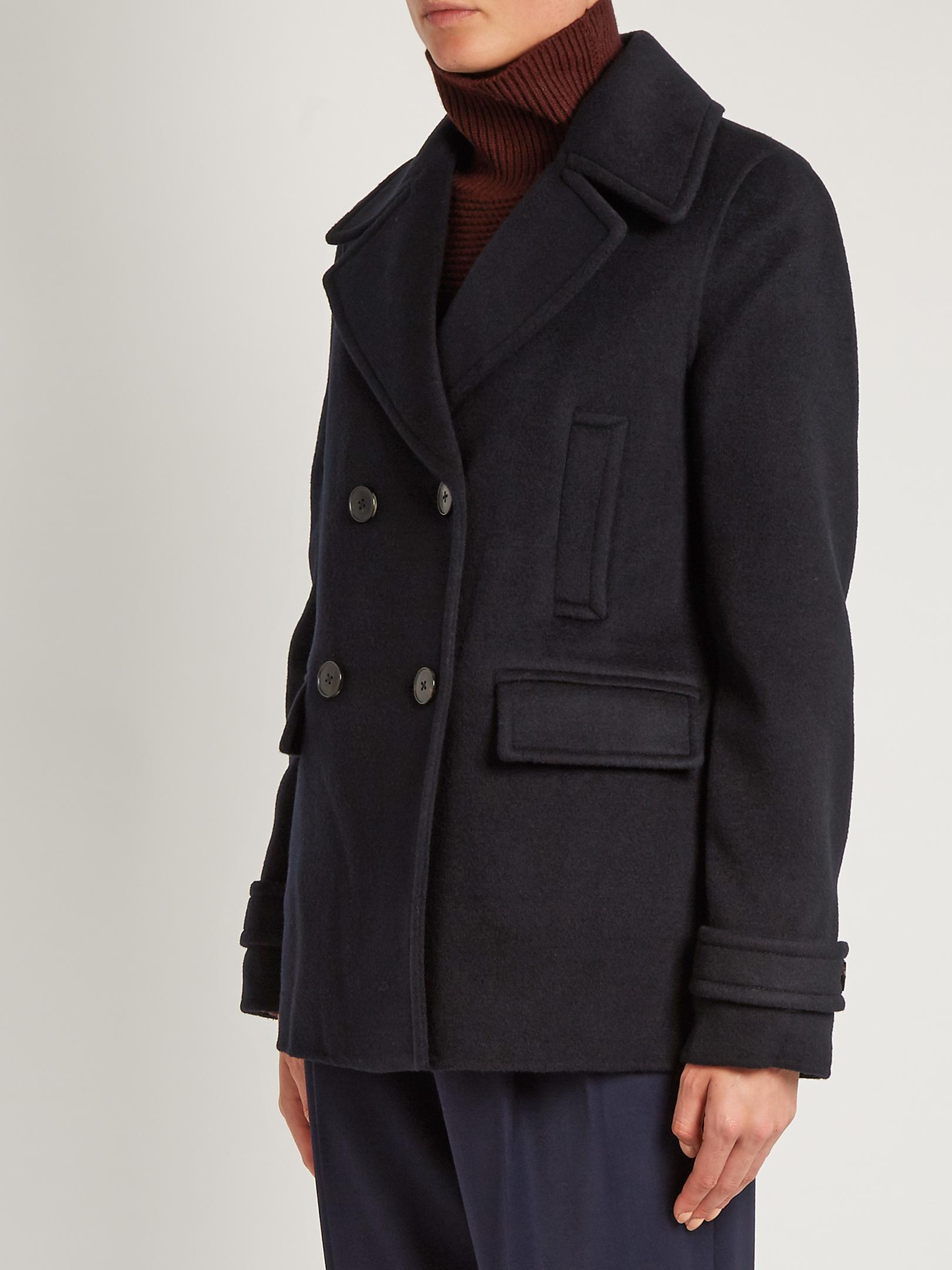 Lyst Vince Wool And Cashmere Blend Pea Coat In Blue