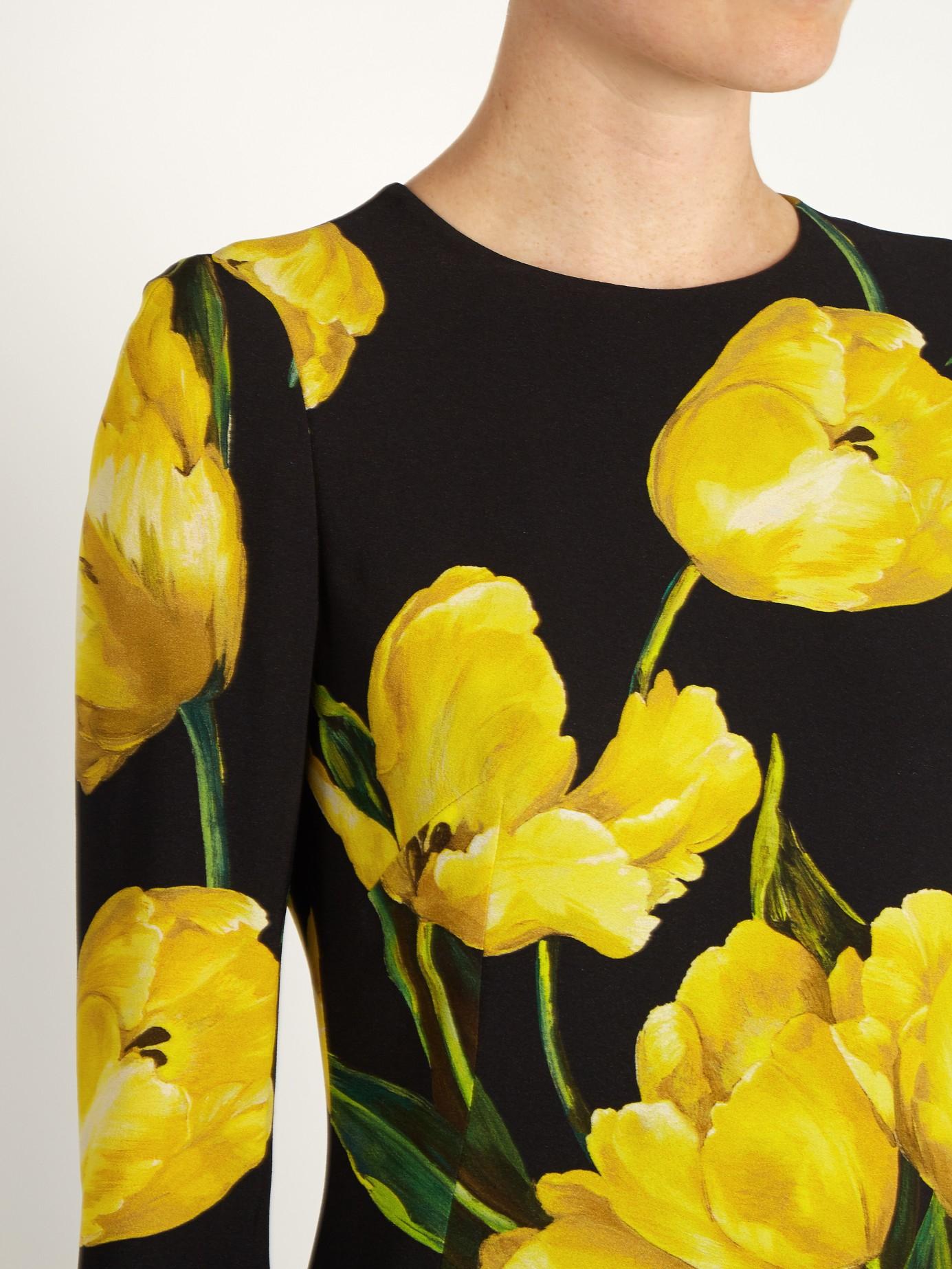 7e0daa9a Dolce & Gabbana Tulip-print Long-sleeved Crepe Dress in Black - Lyst