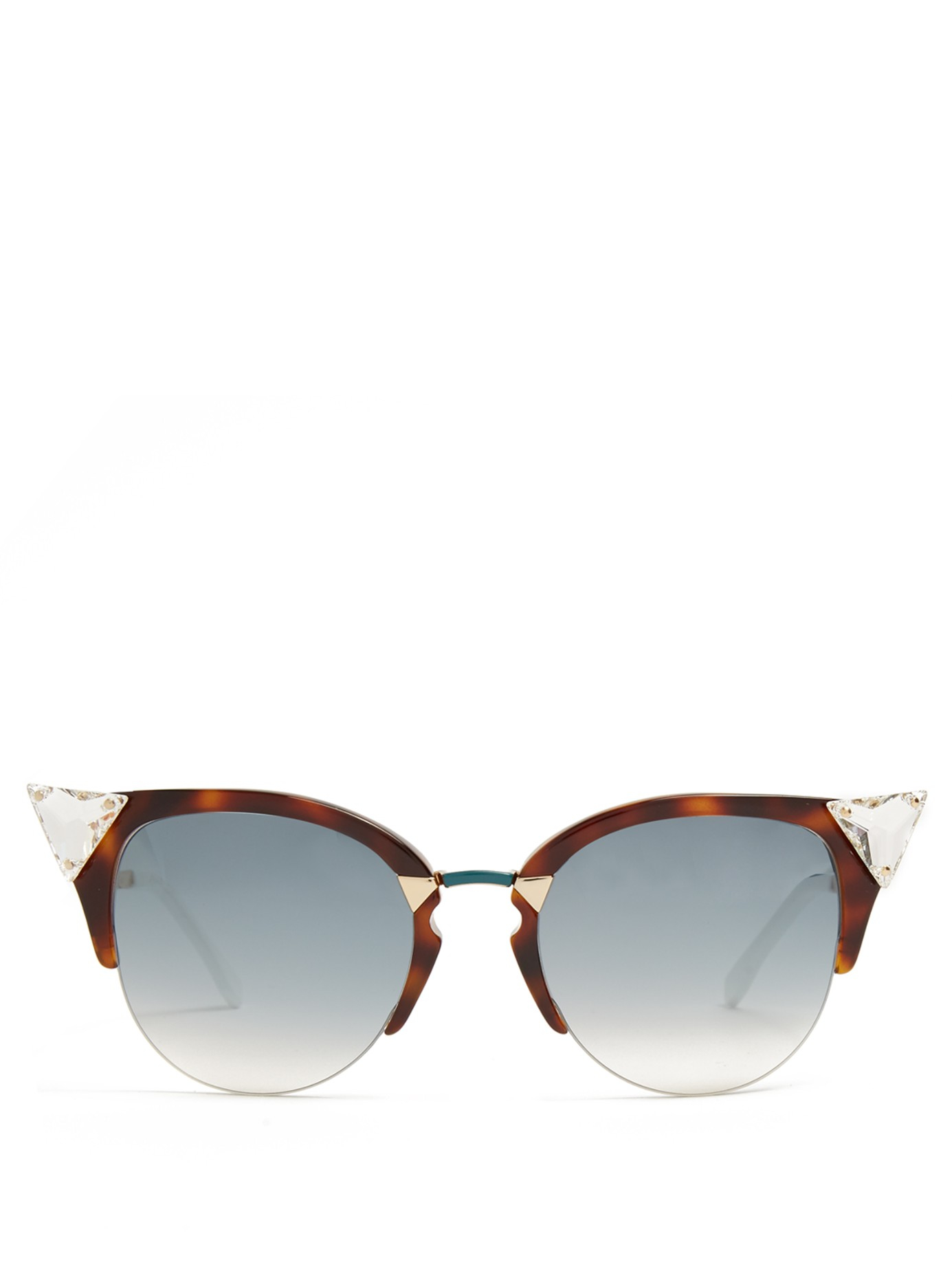 Half Frame Glasses Brown : Fendi Cat-eye Half-frame Sunglasses in Brown Lyst