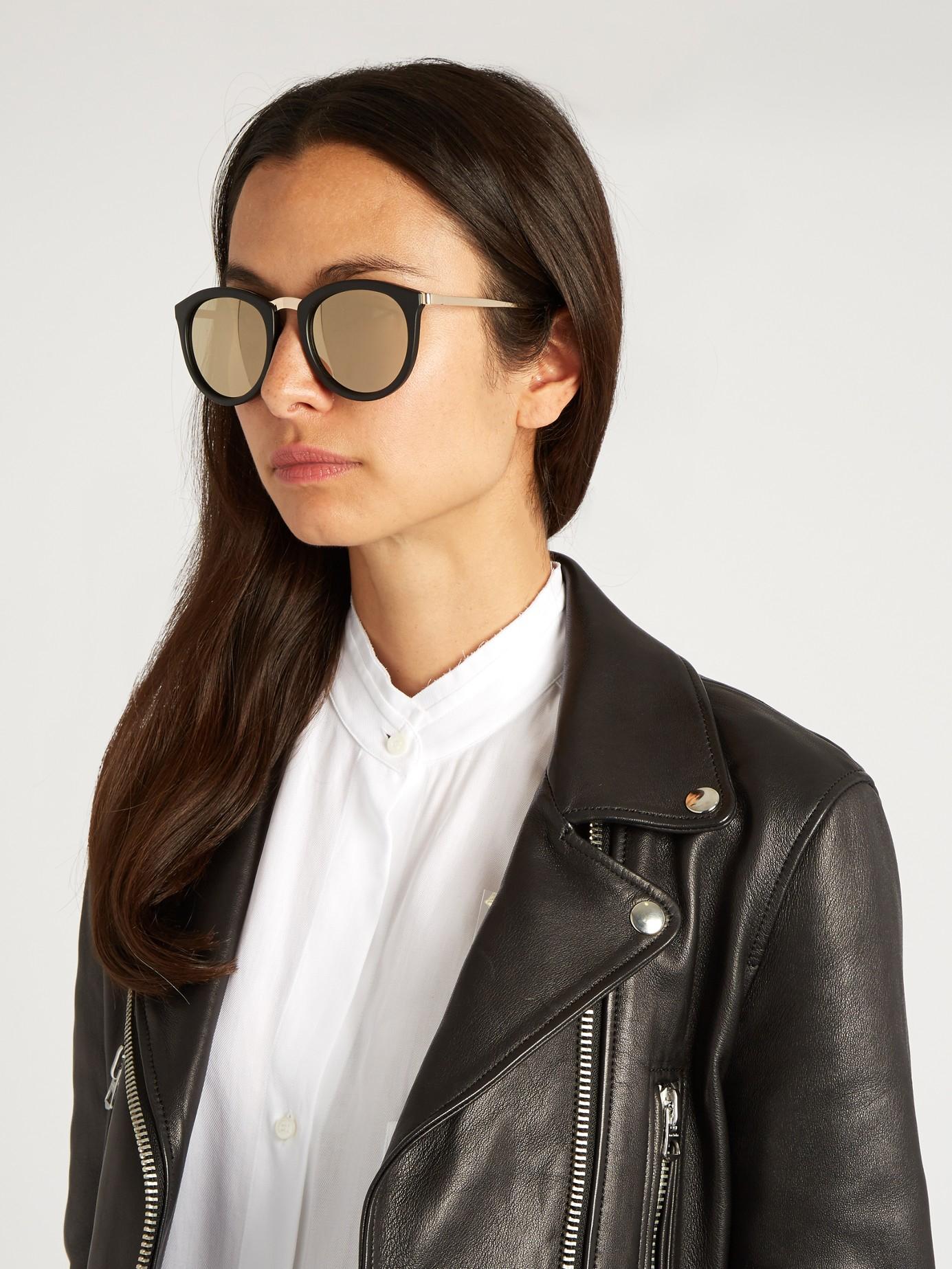 cb747fe50f1 Lyst - Le Specs No Smirking Round Sunglasses in Black