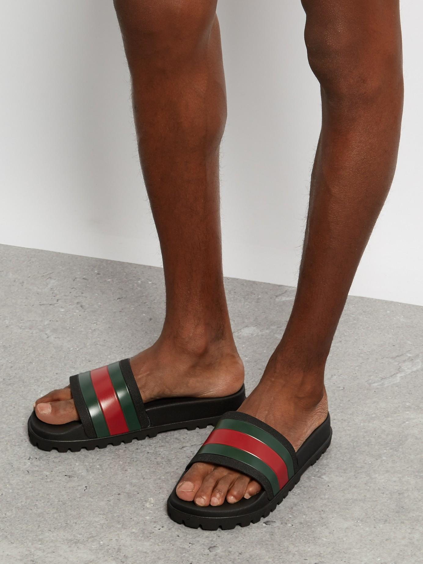 Gucci Web Panel Pool Slides In Black For Men Lyst