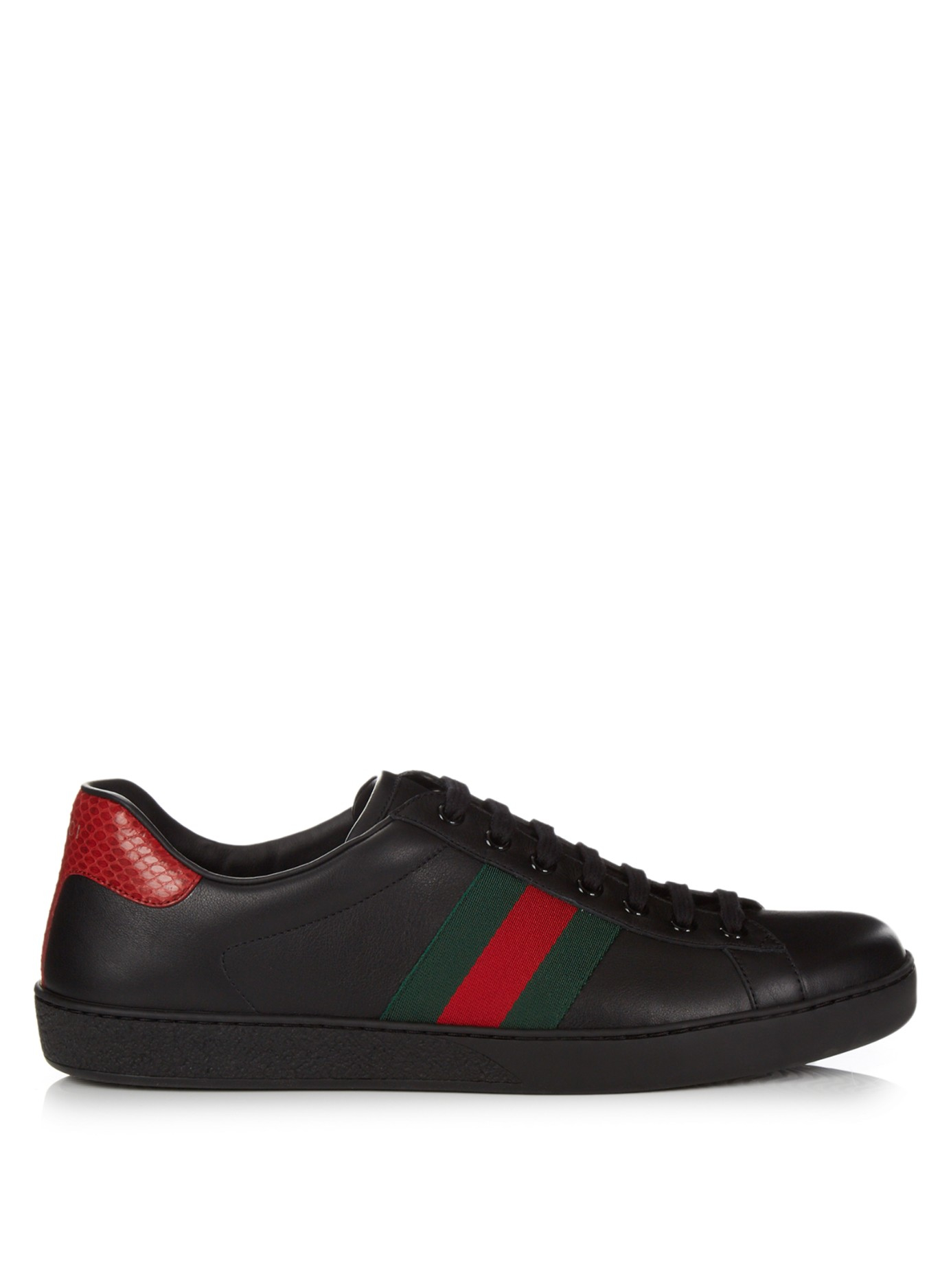 54fd3033d71 Lyst - Gucci Ace Low-top Leather Trainers in Black for Men