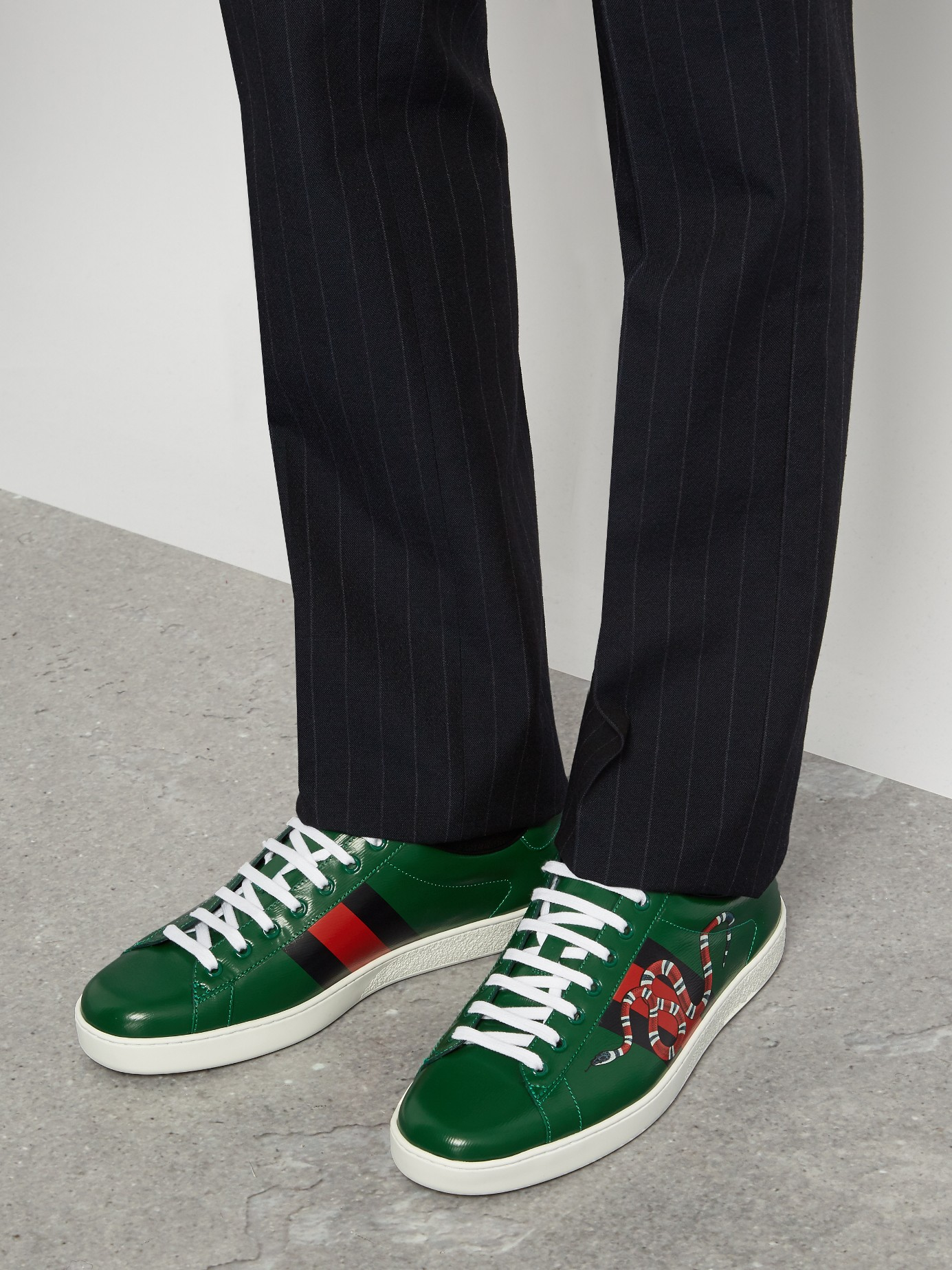Lyst Gucci Ace Snake Print Leather Trainers In Green For Men