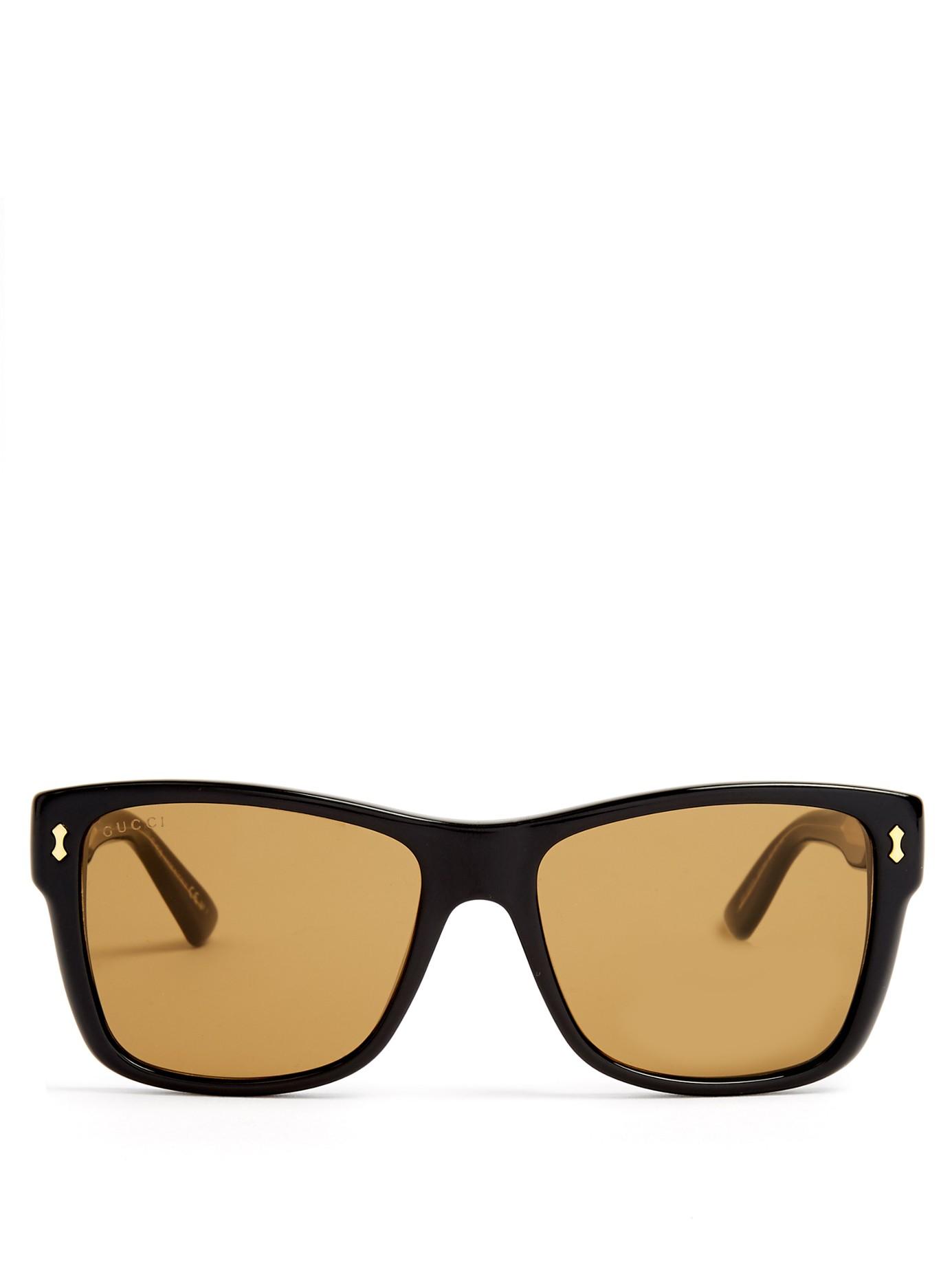 2b37ab3ece Lyst - Gucci Rectangular-frame Acetate Sunglasses in Black for Men