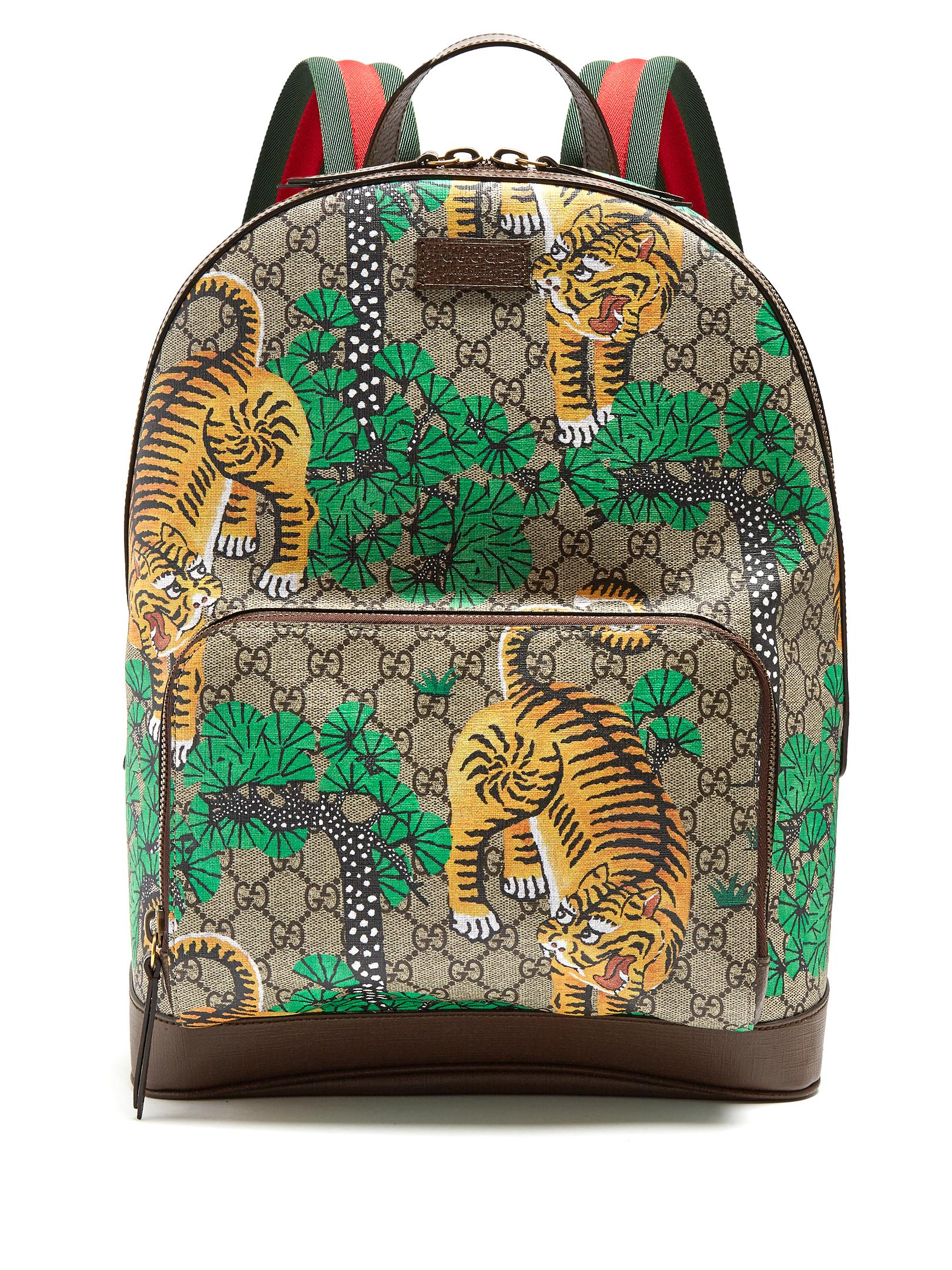 Gucci Bengal Gg Supreme Canvas And Leather Backpack For