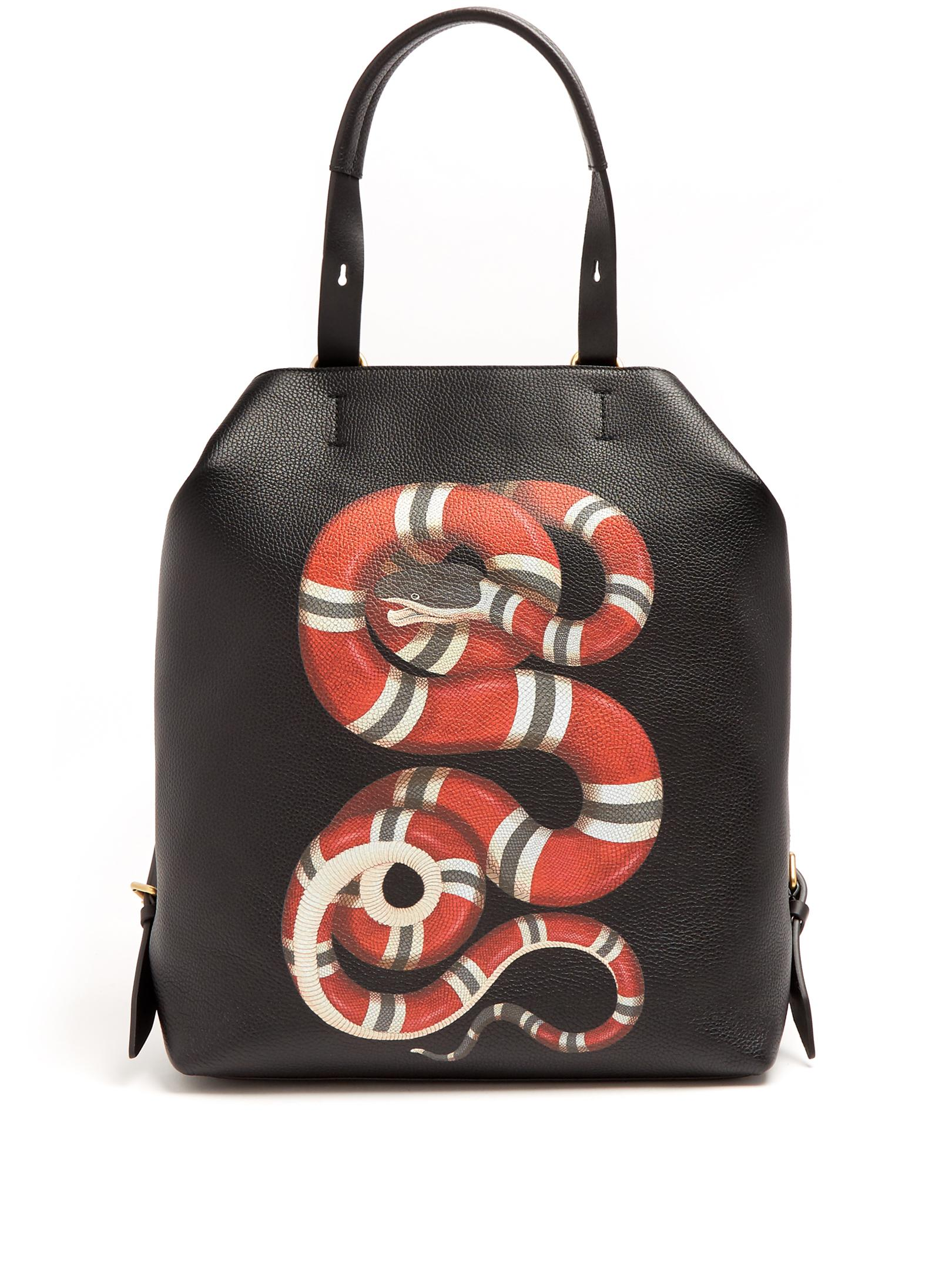 dfa55d95a672 Gucci Snake-print Leather Backpack in Black for Men - Lyst