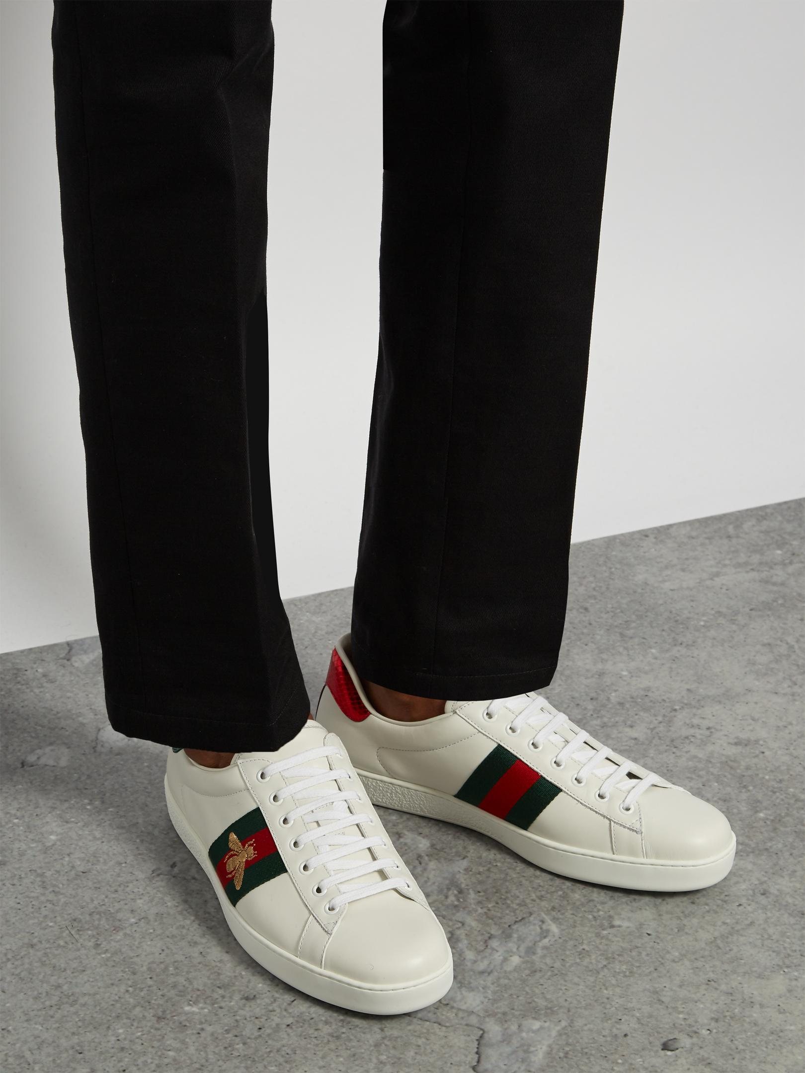 01f446c83b8 Lyst - Gucci Ace Bee-embroidered Low-top Leather Trainers in White ...