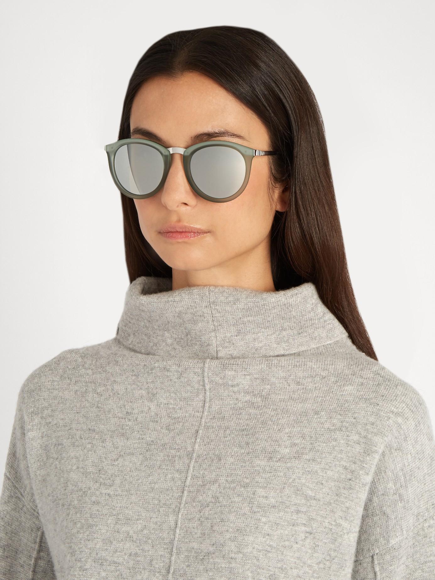 56607f1ff8f Lyst - Le Specs No Smirking Round-frame Sunglasses in Green