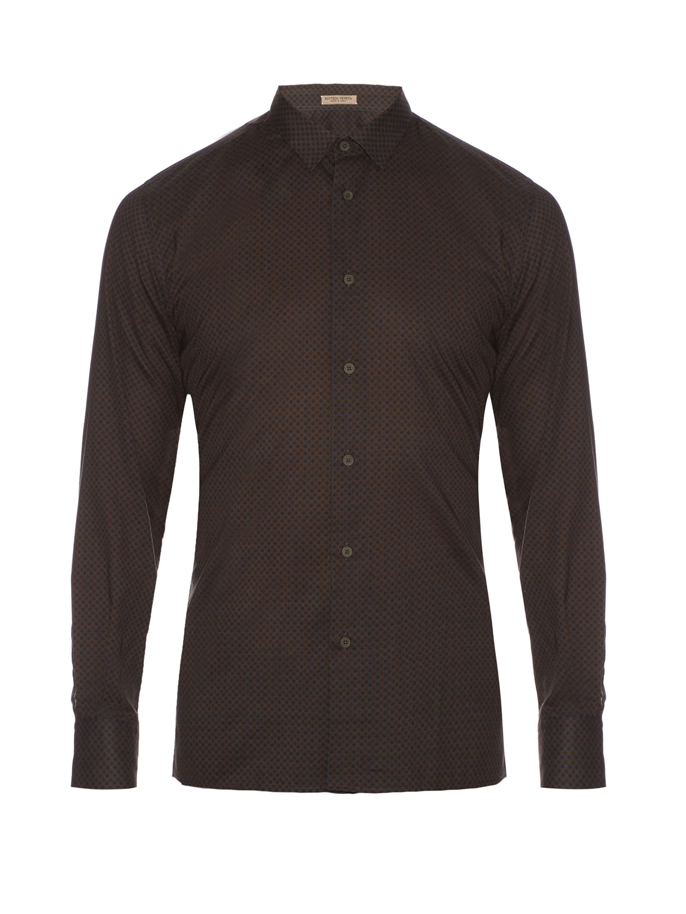 Bottega veneta vintage print cotton shirt in brown for men for Bottega veneta t shirt