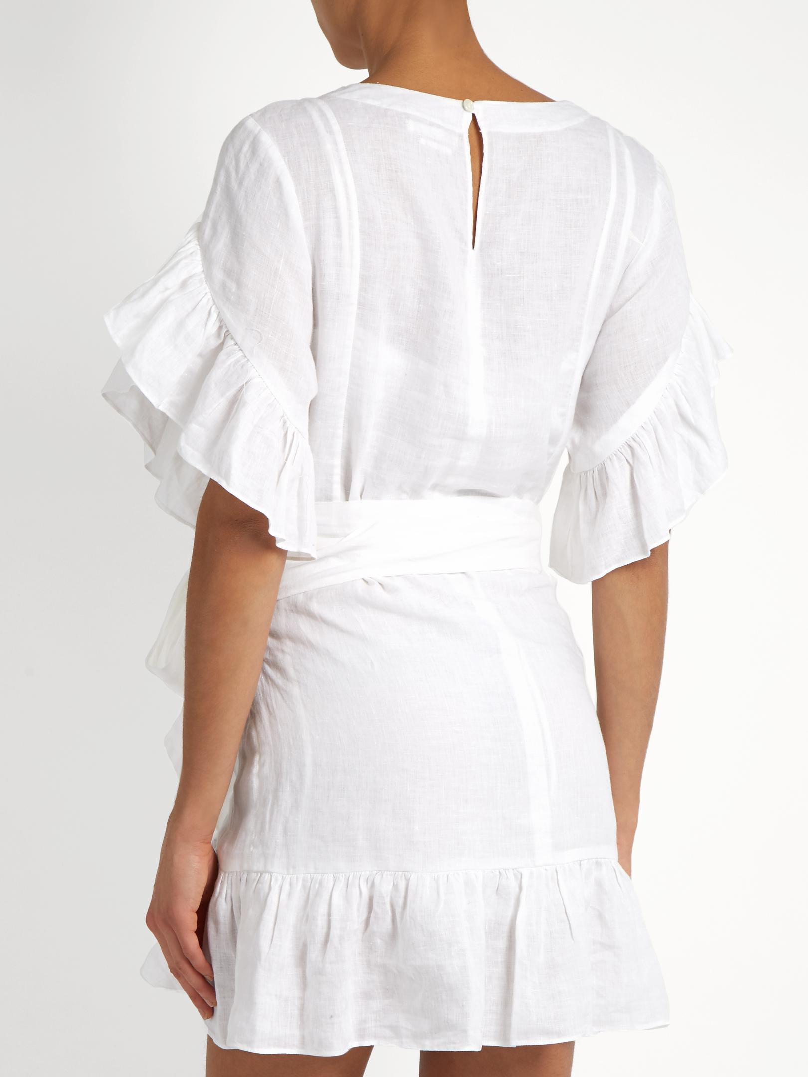 abdf0fd6ccd Lyst - Étoile Isabel Marant Delicia Ruffled Linen Mini Dress in White
