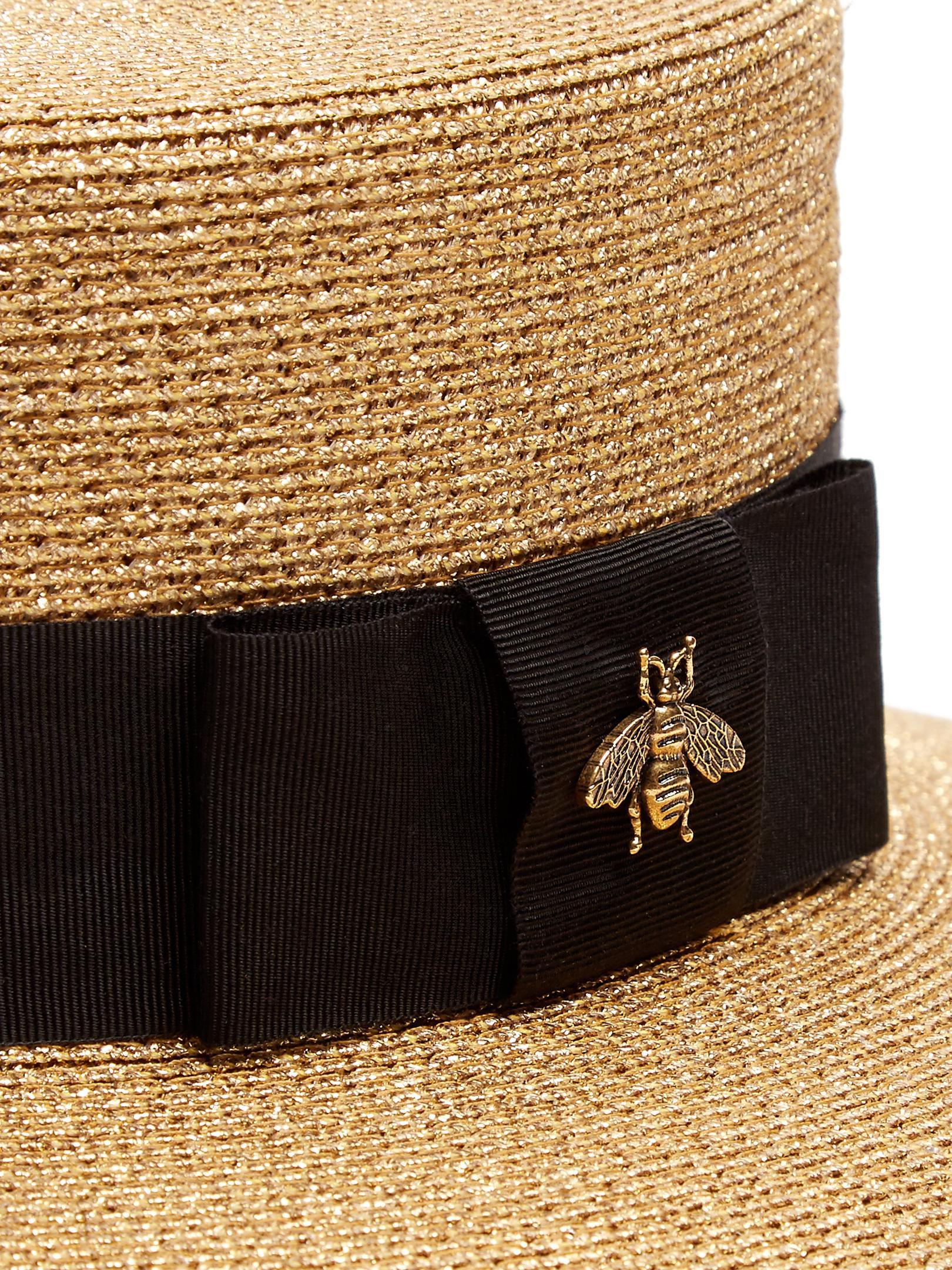 6fd6164ea8fbd Gucci Straw Boater Hat - Lyst
