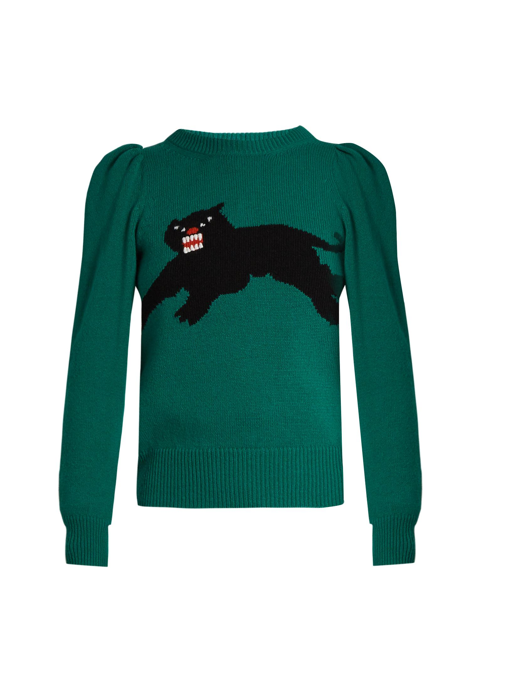 ae77e40e0 Gucci Green Panther-intarsia Wool Jumper - Size Xs in Green - Lyst