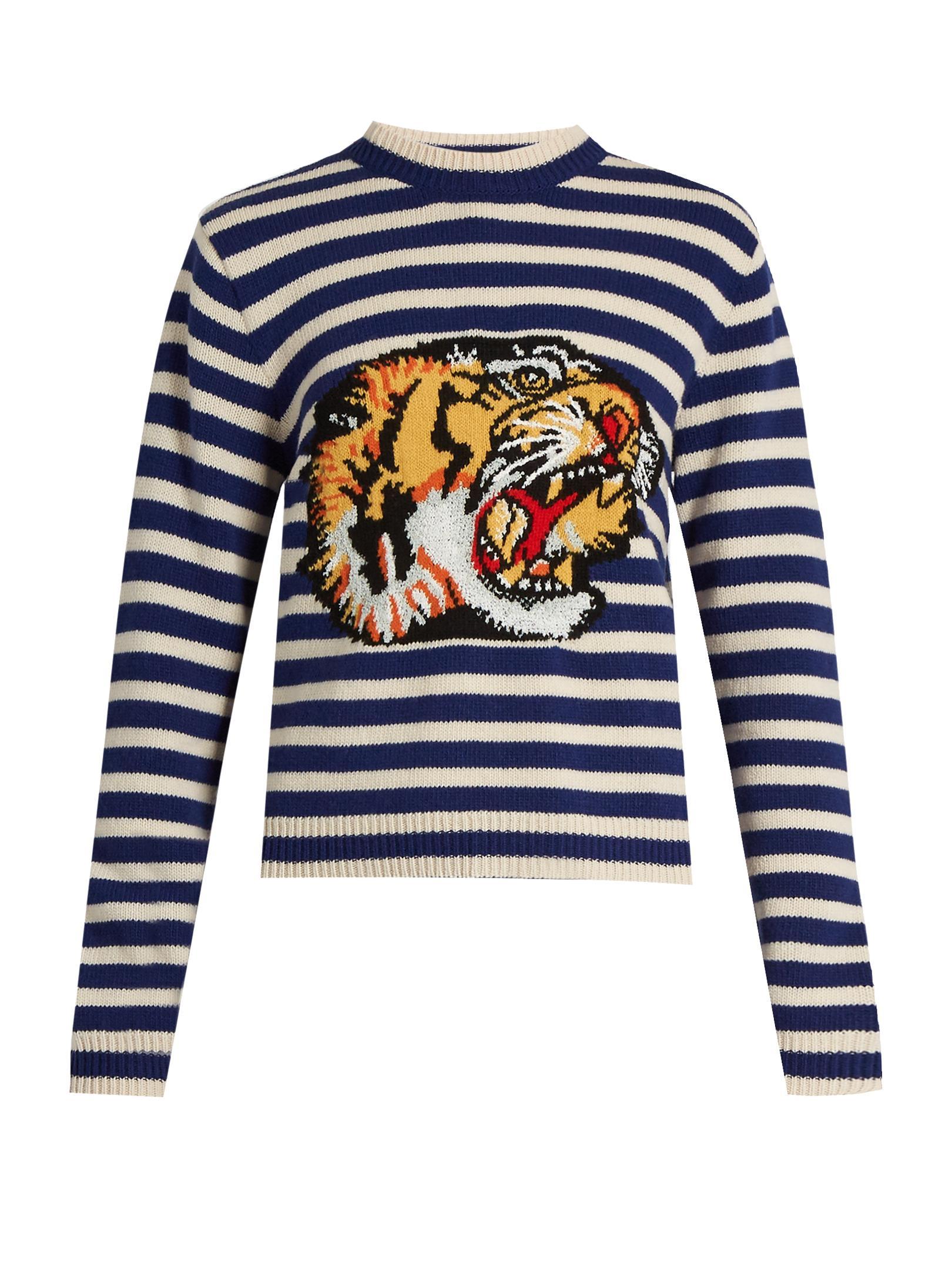 Gucci Tiger Appliqu 233 Striped Wool Sweater In Blue Lyst