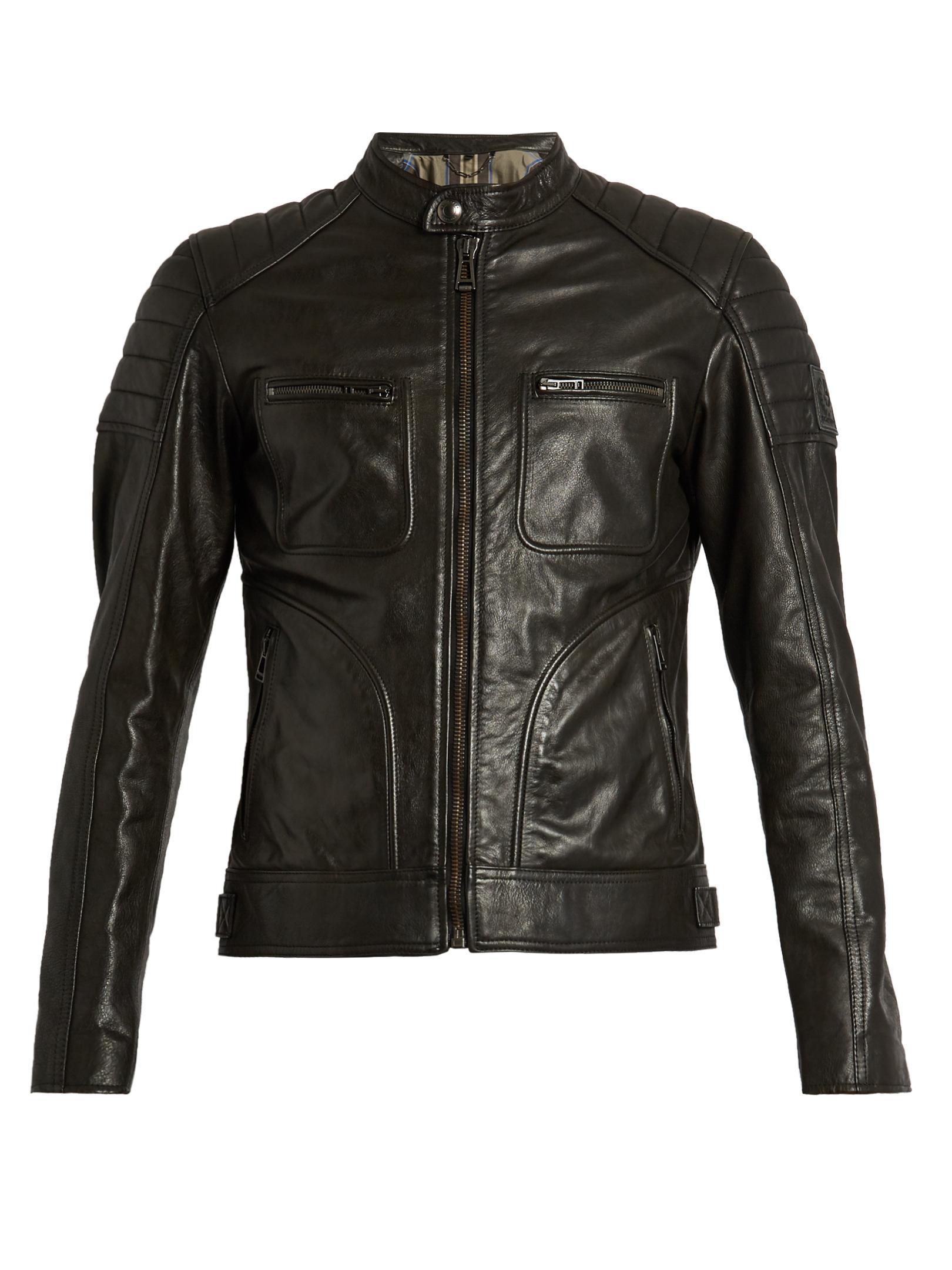 lyst belstaff weybridge waxed leather biker jacket in. Black Bedroom Furniture Sets. Home Design Ideas