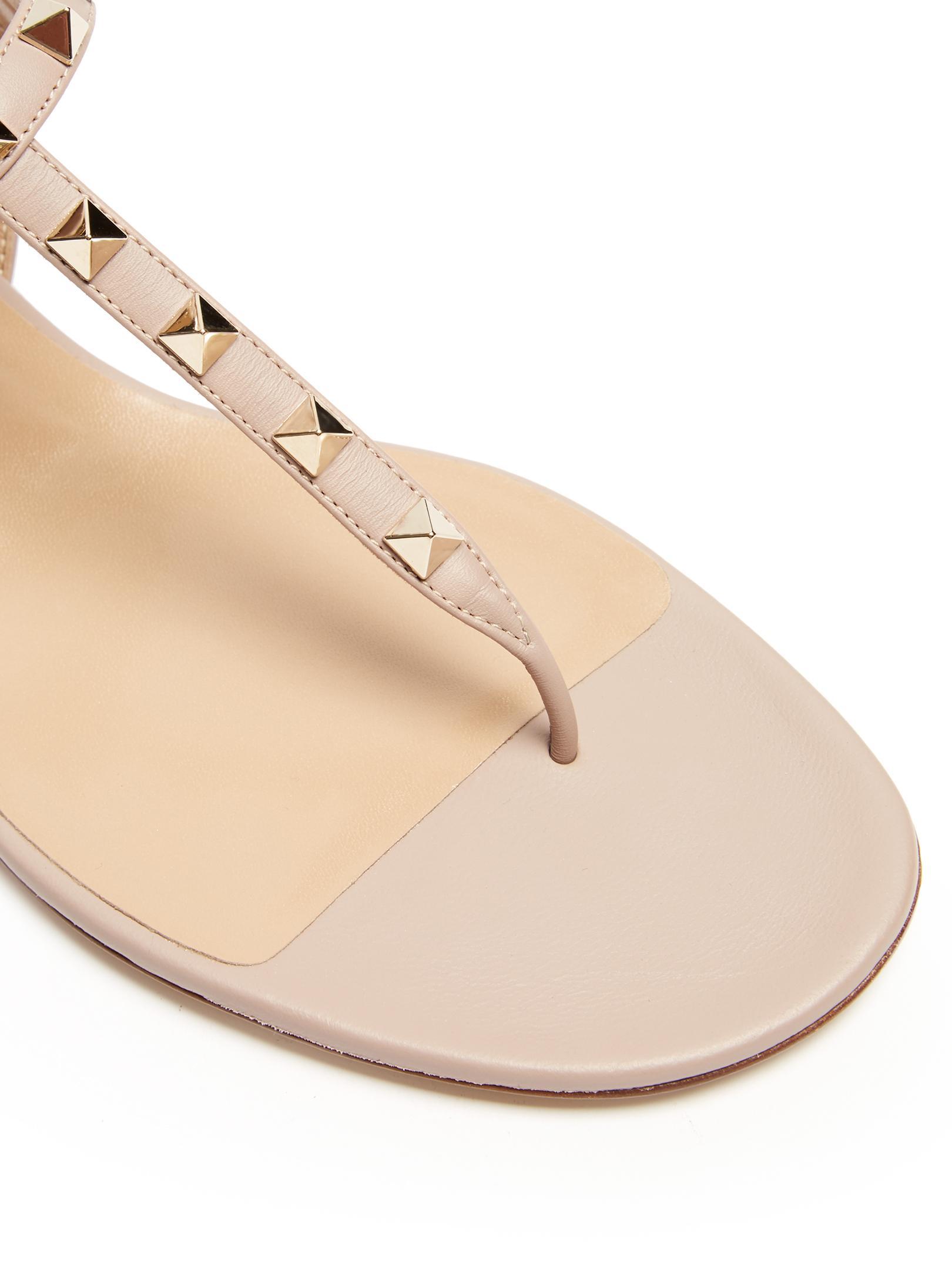 c65215e2de68b Lyst - Valentino Rockstud Flat Leather Sandals