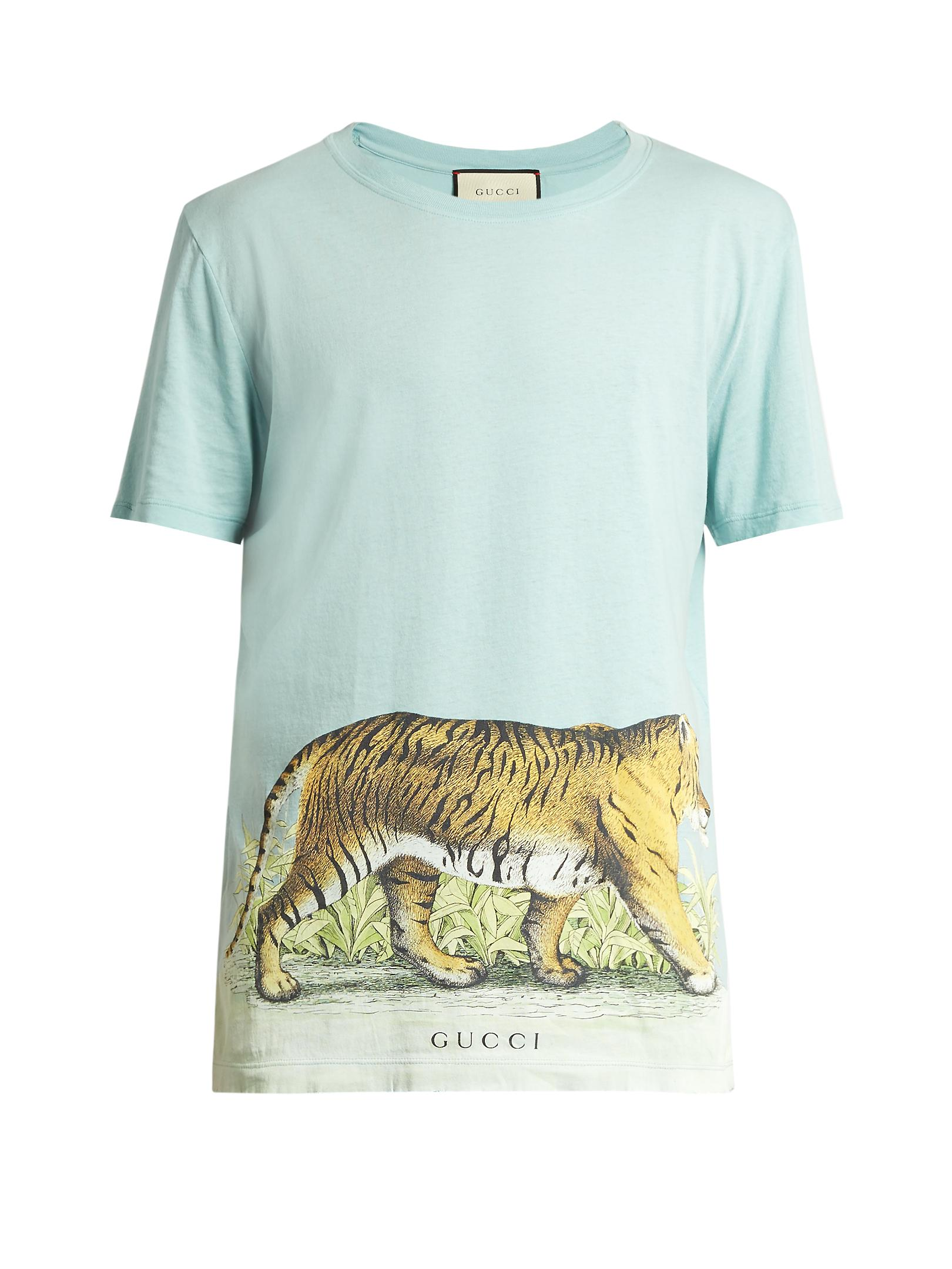 3a2e596e0f16 Gucci Walking Tiger-print Short-sleeved Cotton T-shirt in Blue for ...