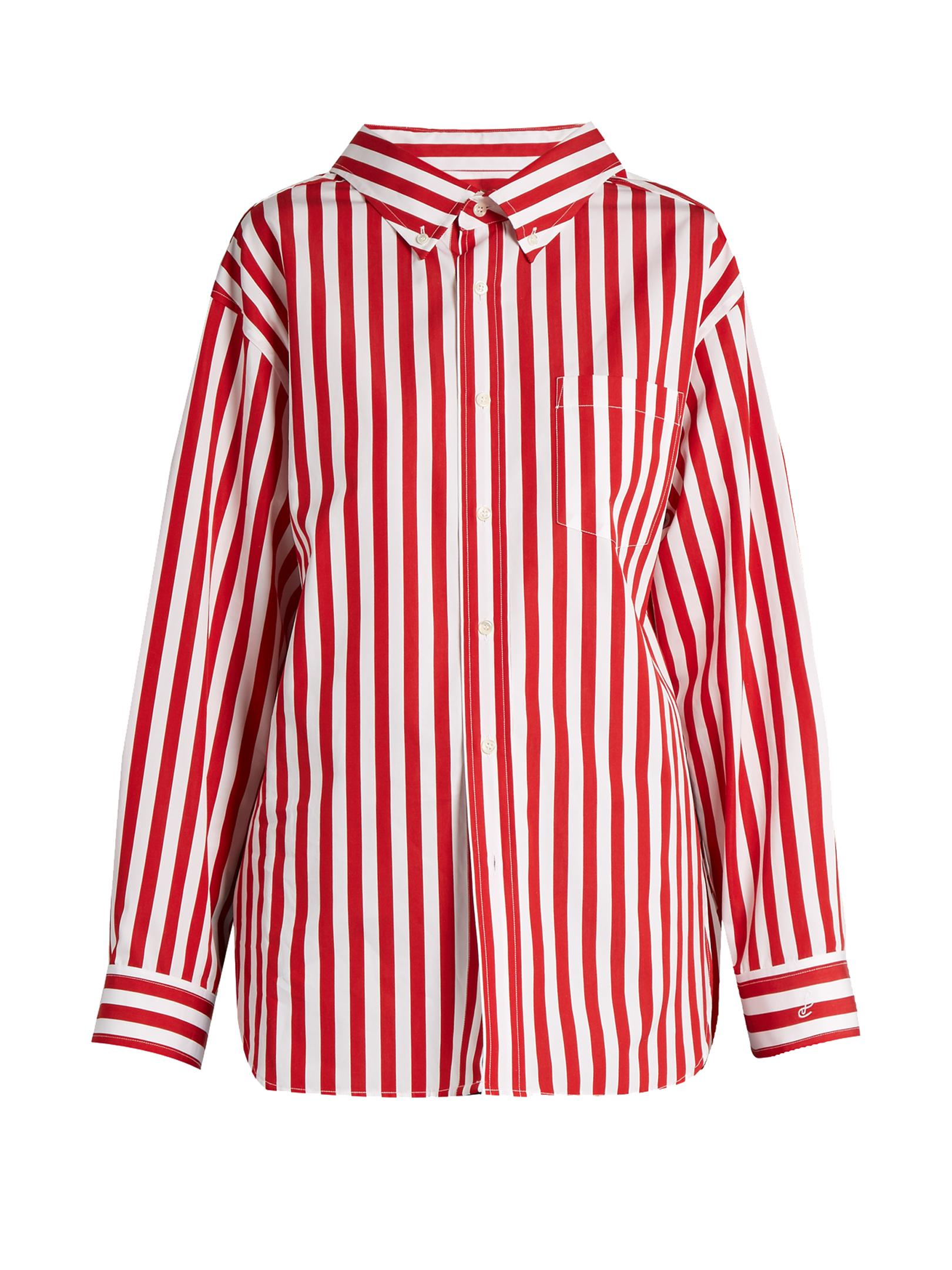 Balenciaga striped cotton poplin shirt in red lyst for Red and white striped button down shirt