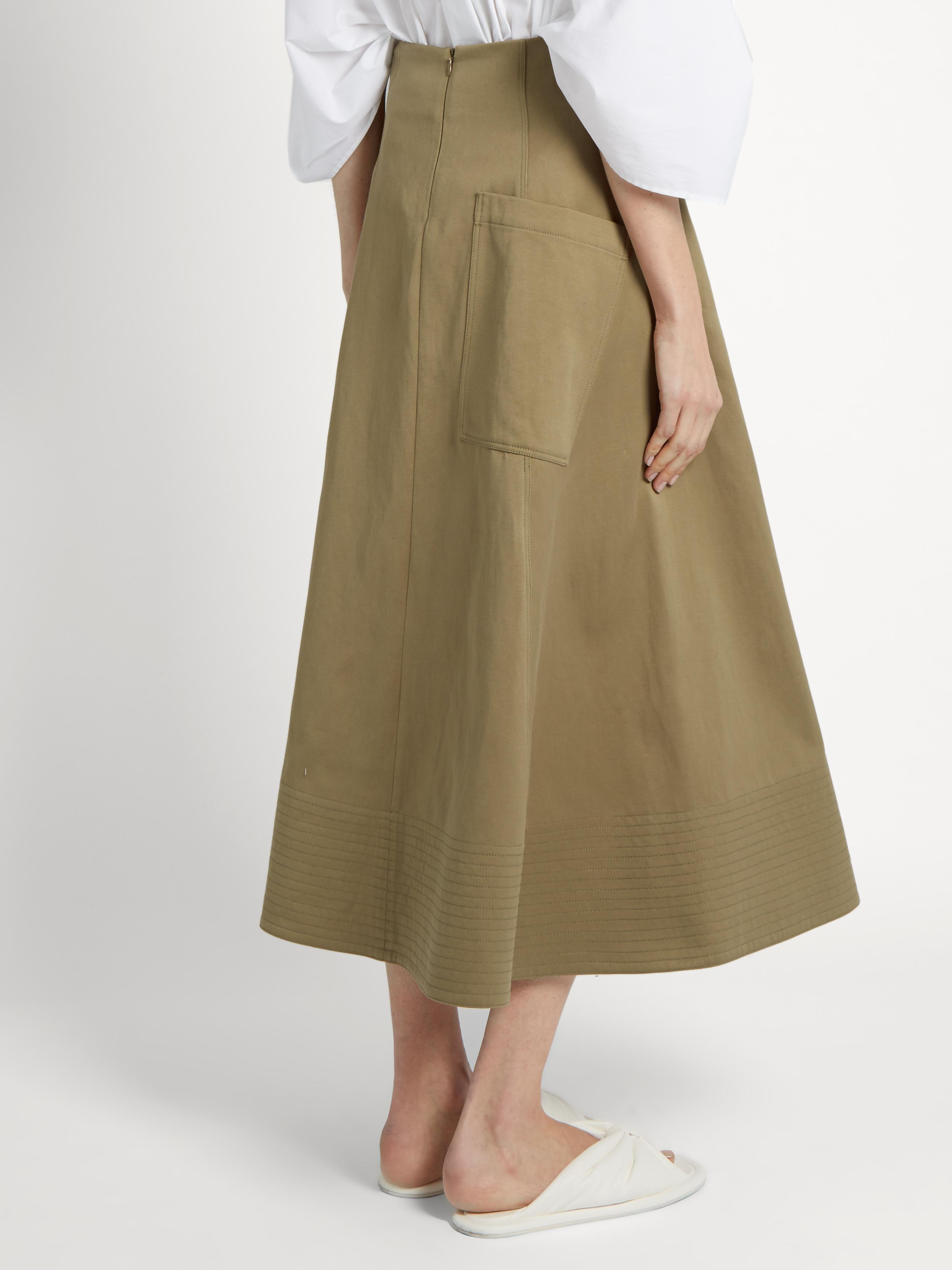 Lyst Joseph Arka A Line Cotton Canvas Midi Skirt In Natural