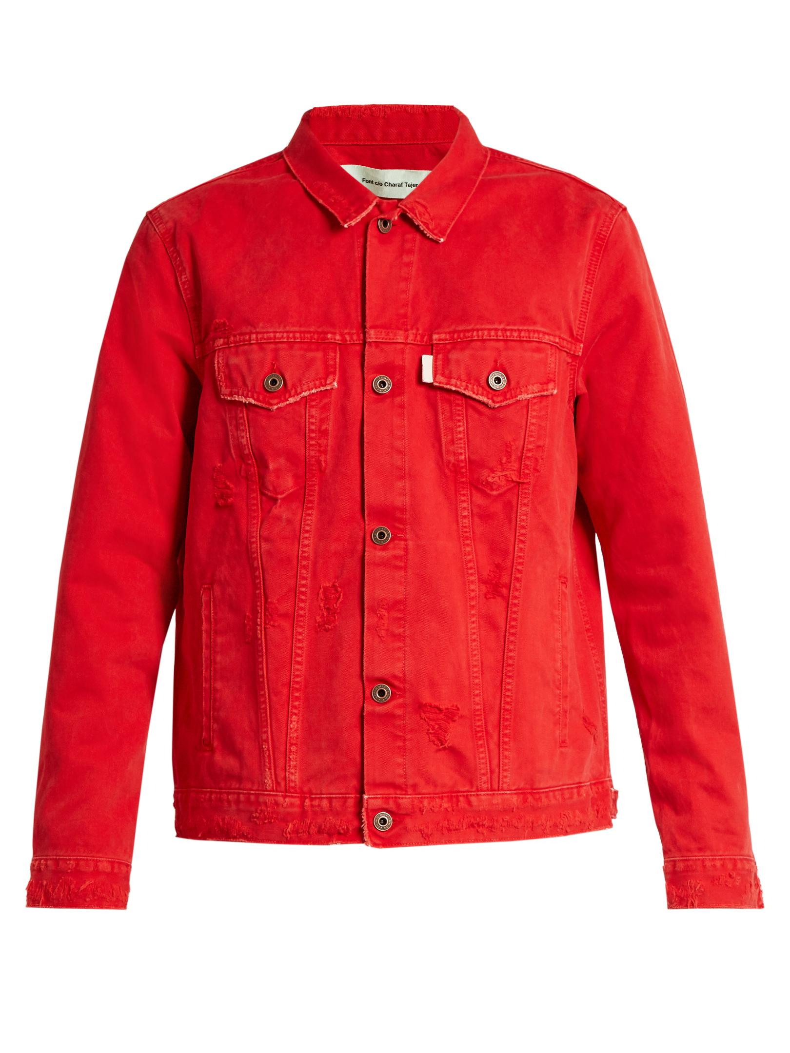Off White C O Virgil Abloh The End Denim Jacket In Red For