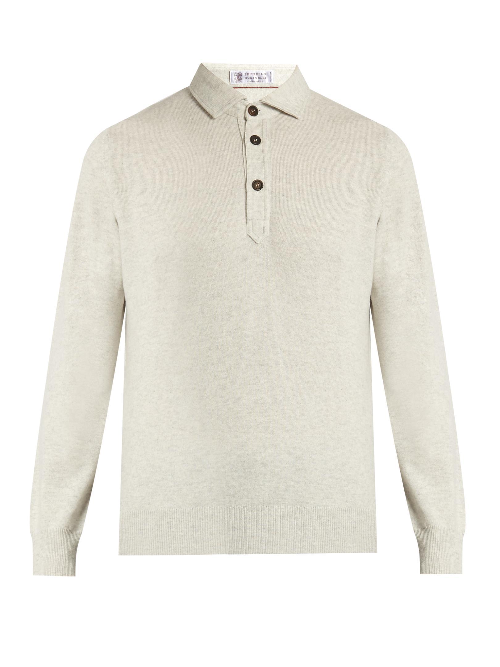 Brunello cucinelli long sleeved wool blend polo shirt in for Long sleeve wool polo shirts
