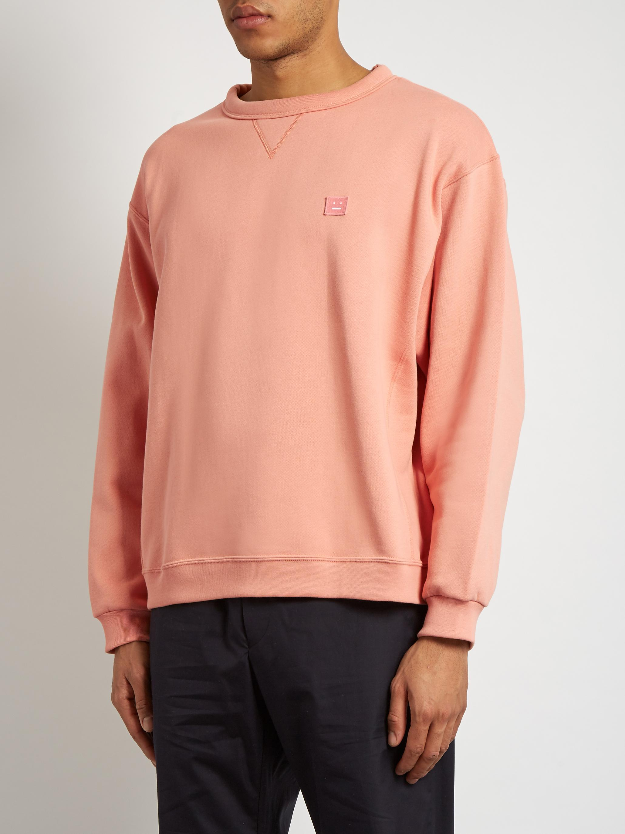 acne studios fint face cotton sweater in pink for men lyst. Black Bedroom Furniture Sets. Home Design Ideas