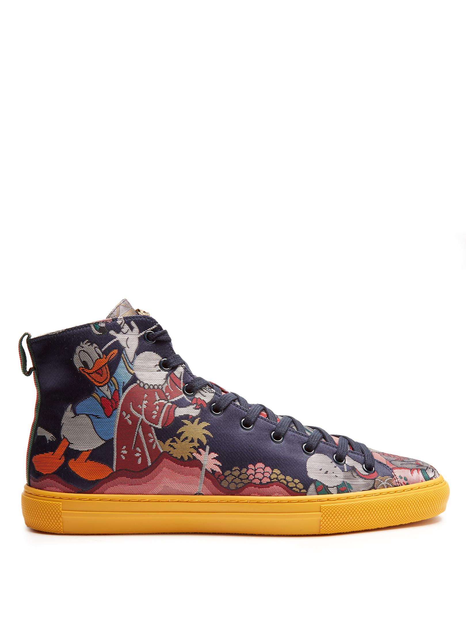 e1db0bbadf03 Gucci Jacquard High-top Sneaker With Donald Duck in Blue for Men - Lyst