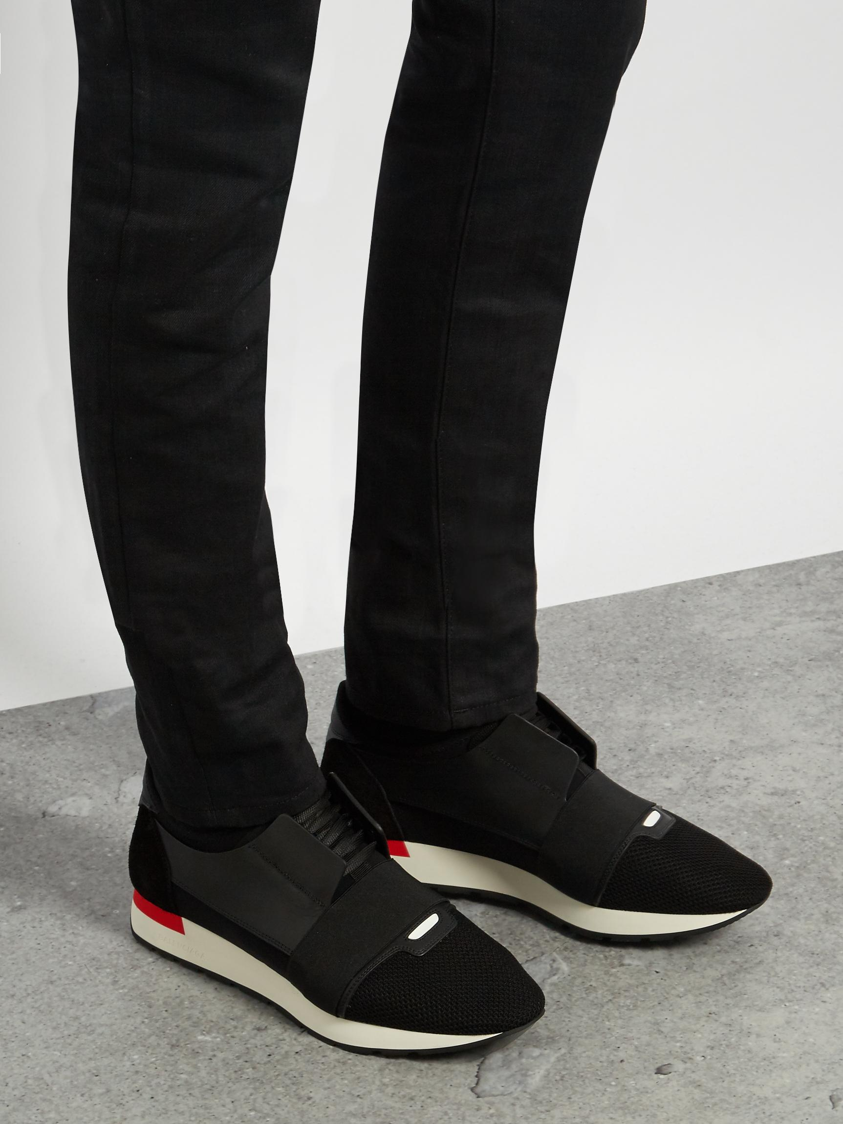 82820c847e88 Lyst - Balenciaga Race Runners Panelled Low-top Trainers in Black ...