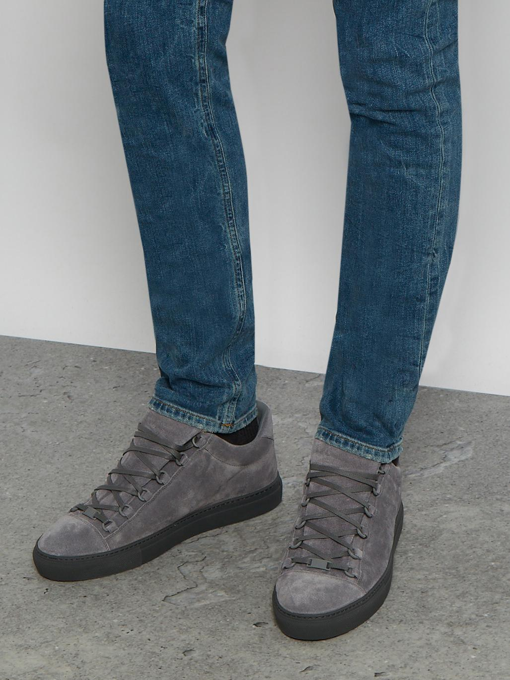 balenciaga arena lowtop suede trainers in gray for men lyst
