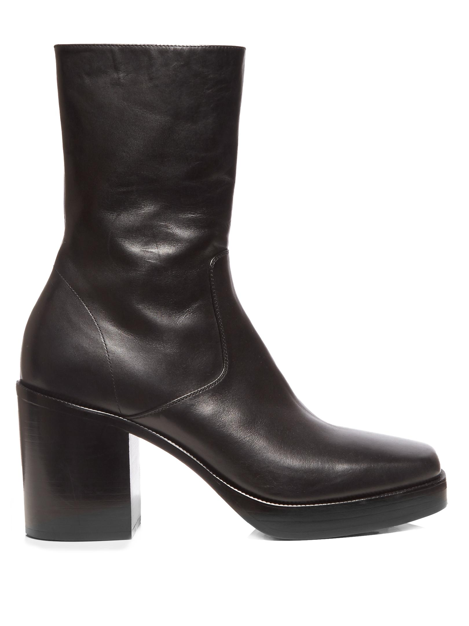 Balenciaga Leather Platform Boots In Black For Men Lyst