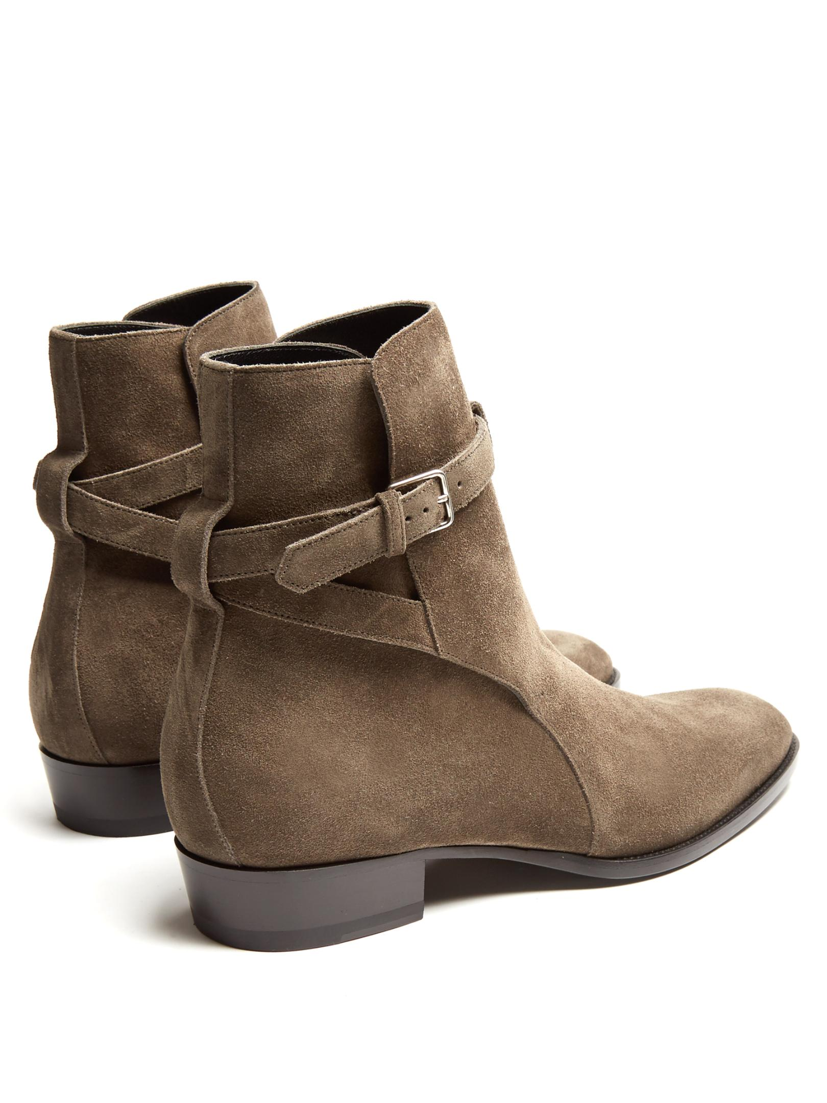 Lyst Saint Laurent Wyatt Jodhpur Suede Ankle Boots In