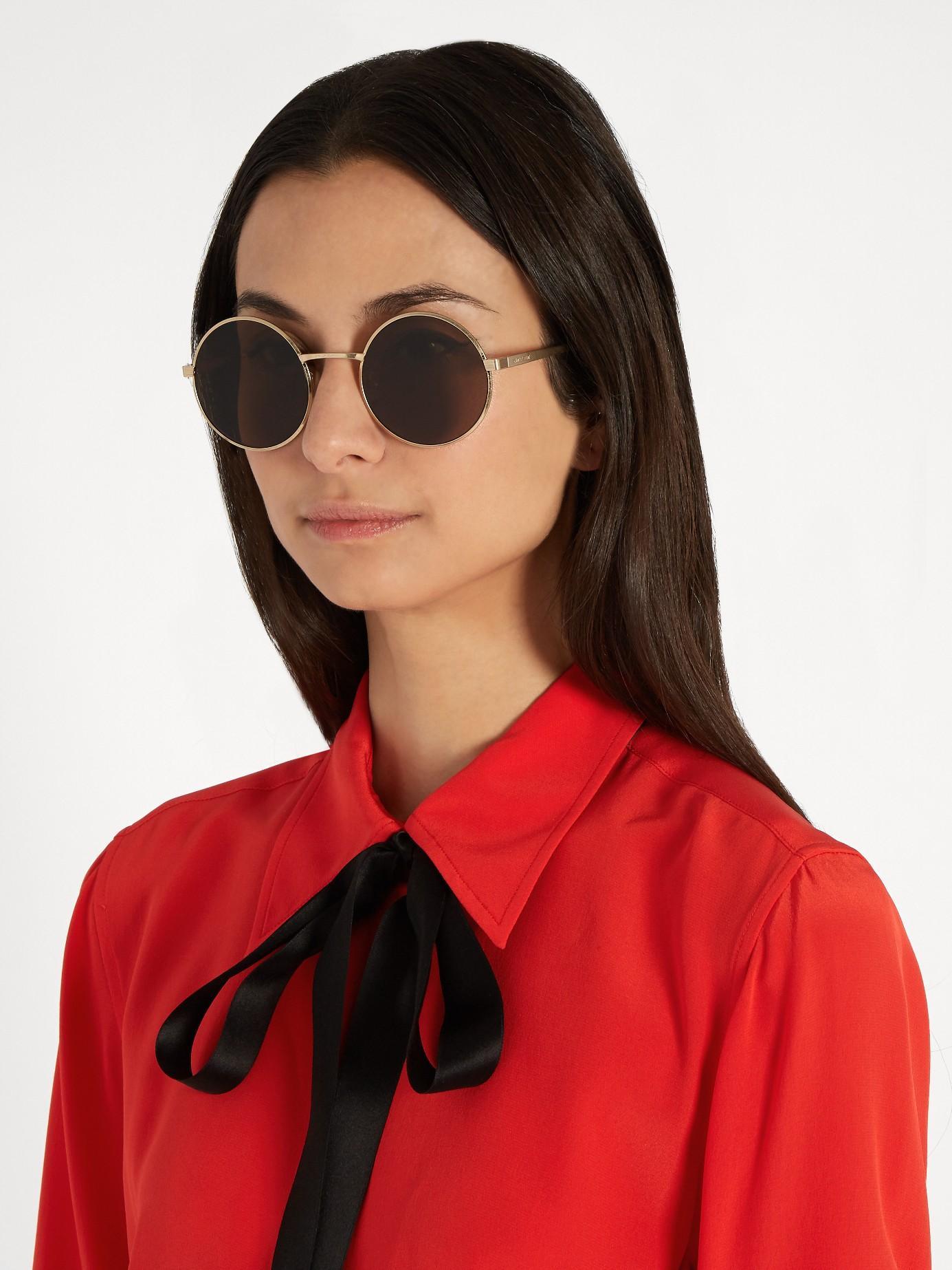6e39d887e0 Saint Laurent Zero Round-frame Sunglasses in Metallic - Lyst
