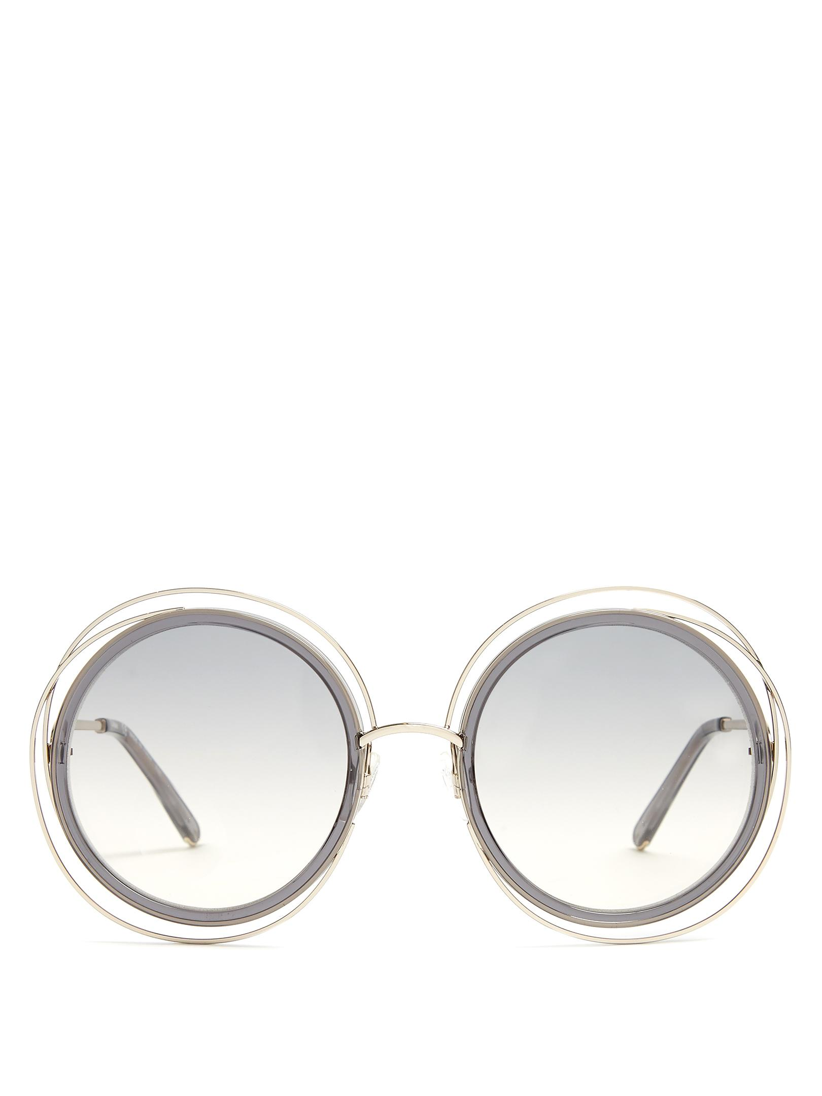 chlo carlina round frame sunglasses in gray lyst  gallery
