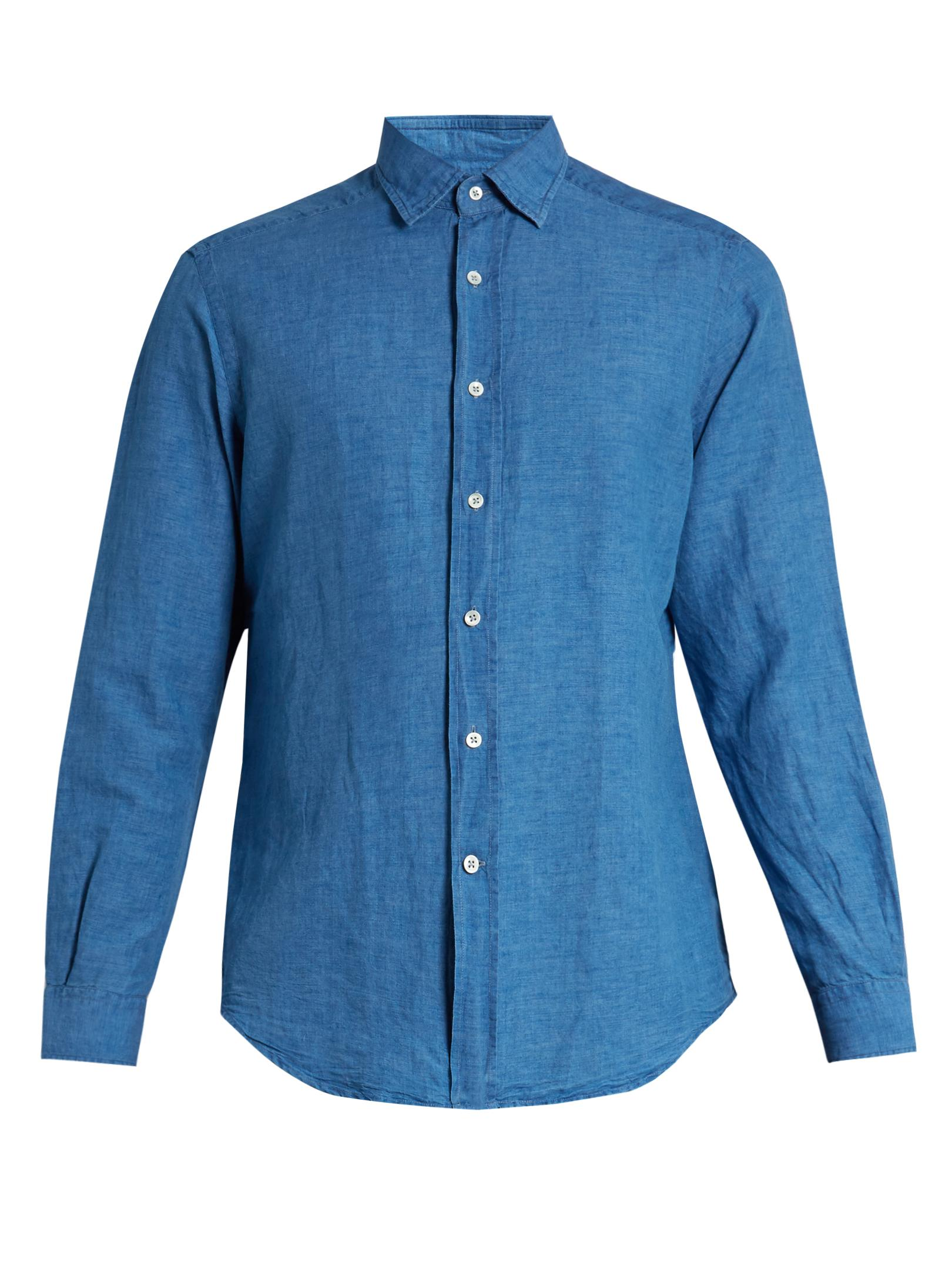Lyst glanshirt kent chambray shirt in blue for men