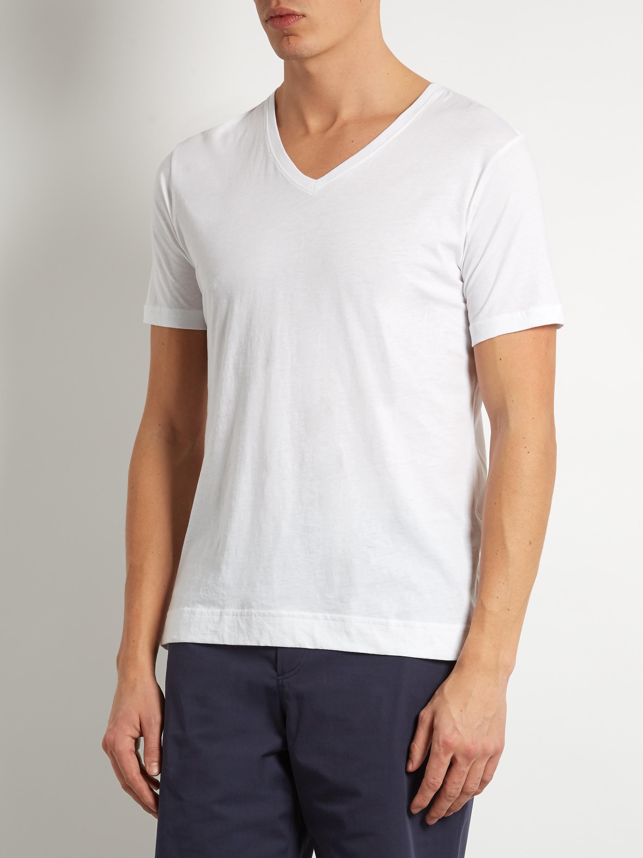 Lyst adam lippes v neck cotton t shirt in white for men for Adam lippes t shirt