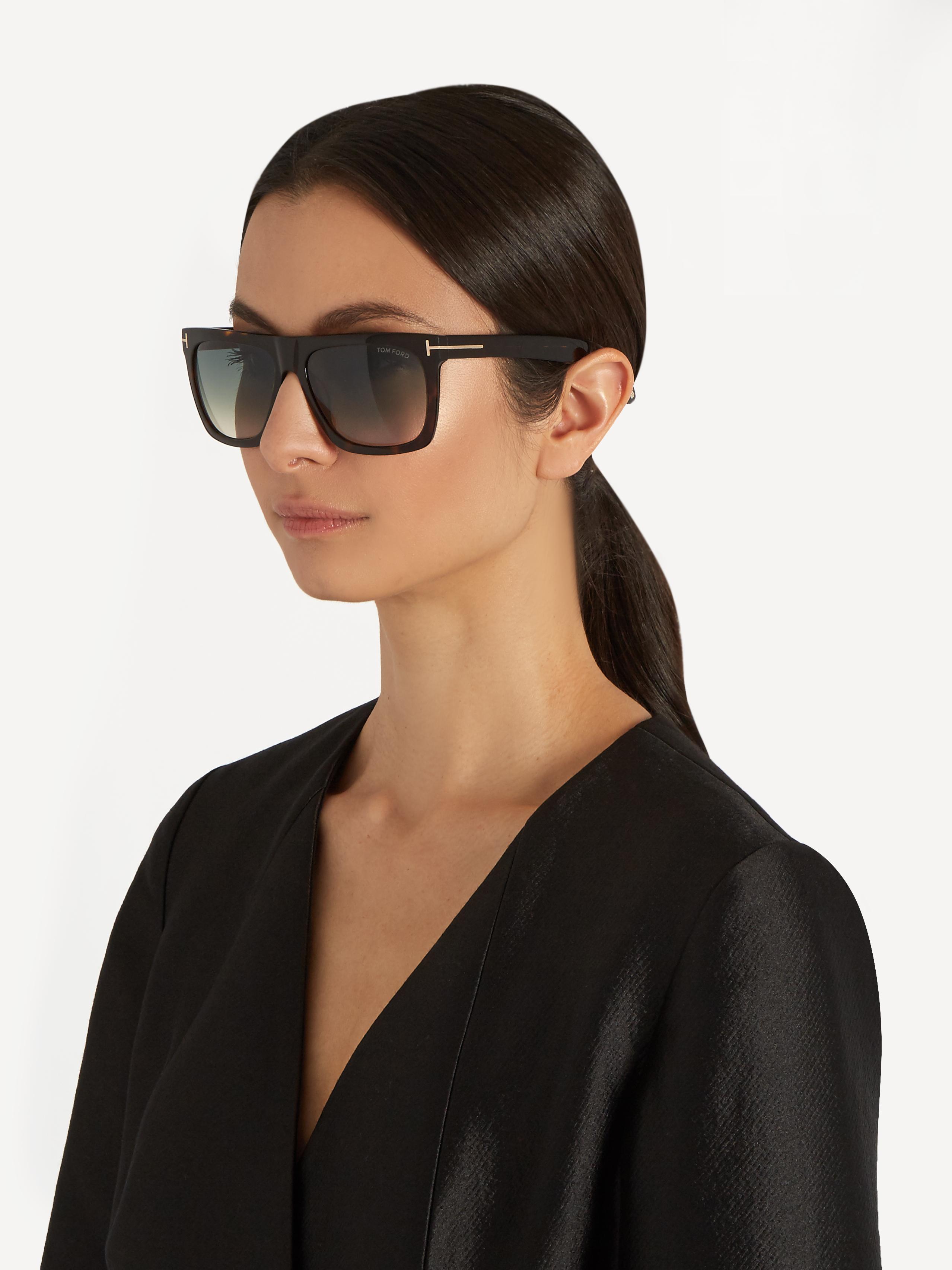 Lyst - Tom Ford Morgan Flat-top Sunglasses in Brown Tom Ford Eyewear Logo