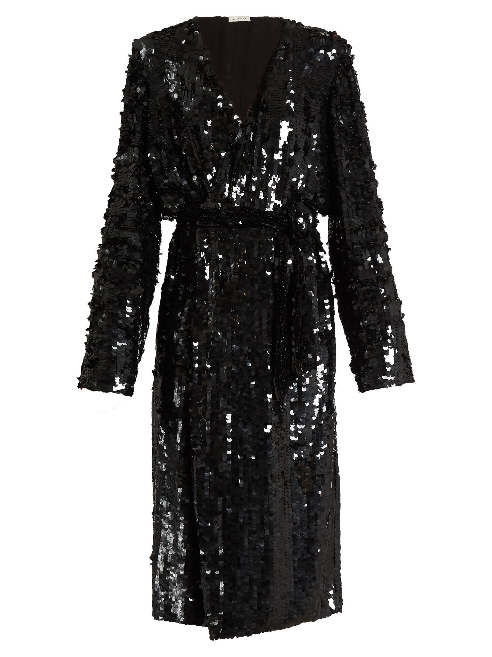 Attico Dara Sequin Embellished Wrap Dress In Black Lyst