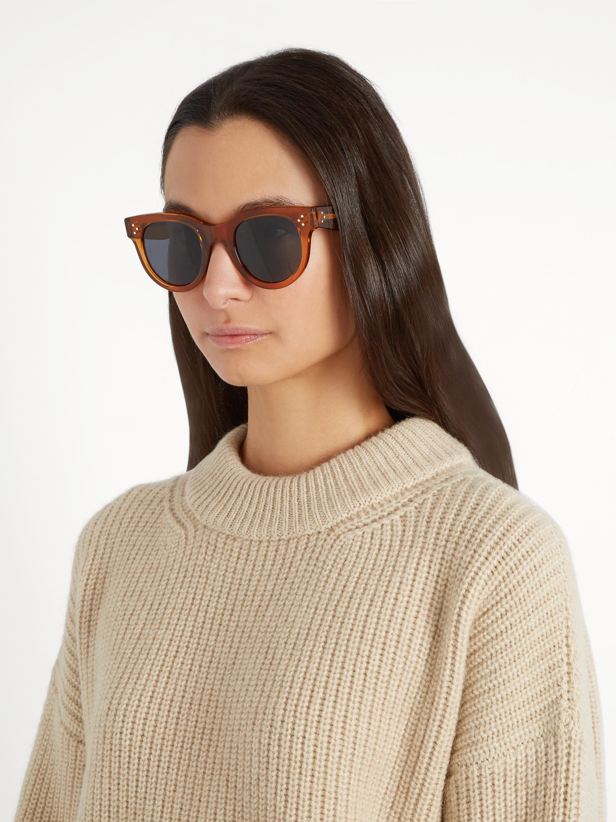 91113ab2c7 Lyst - Céline Baby Audrey Acetate Sunglasses in Brown