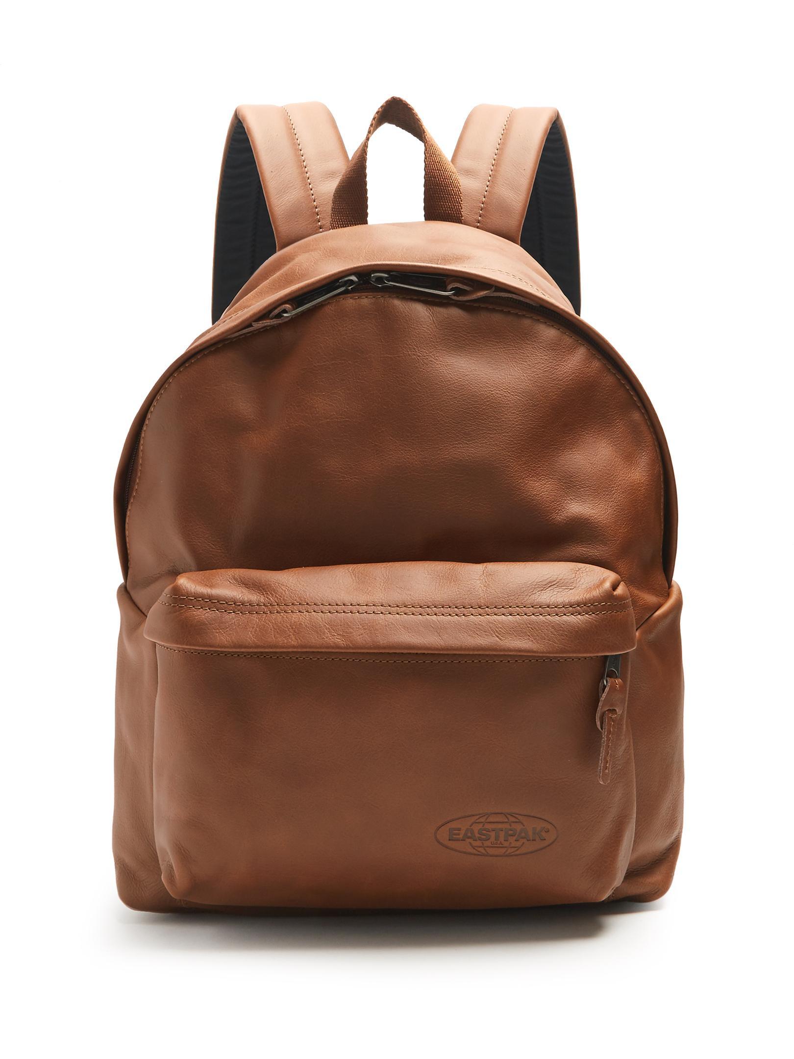 Leather Eastpak Backpack: Eastpak Pak'r Leather Backpack In Brown For Men