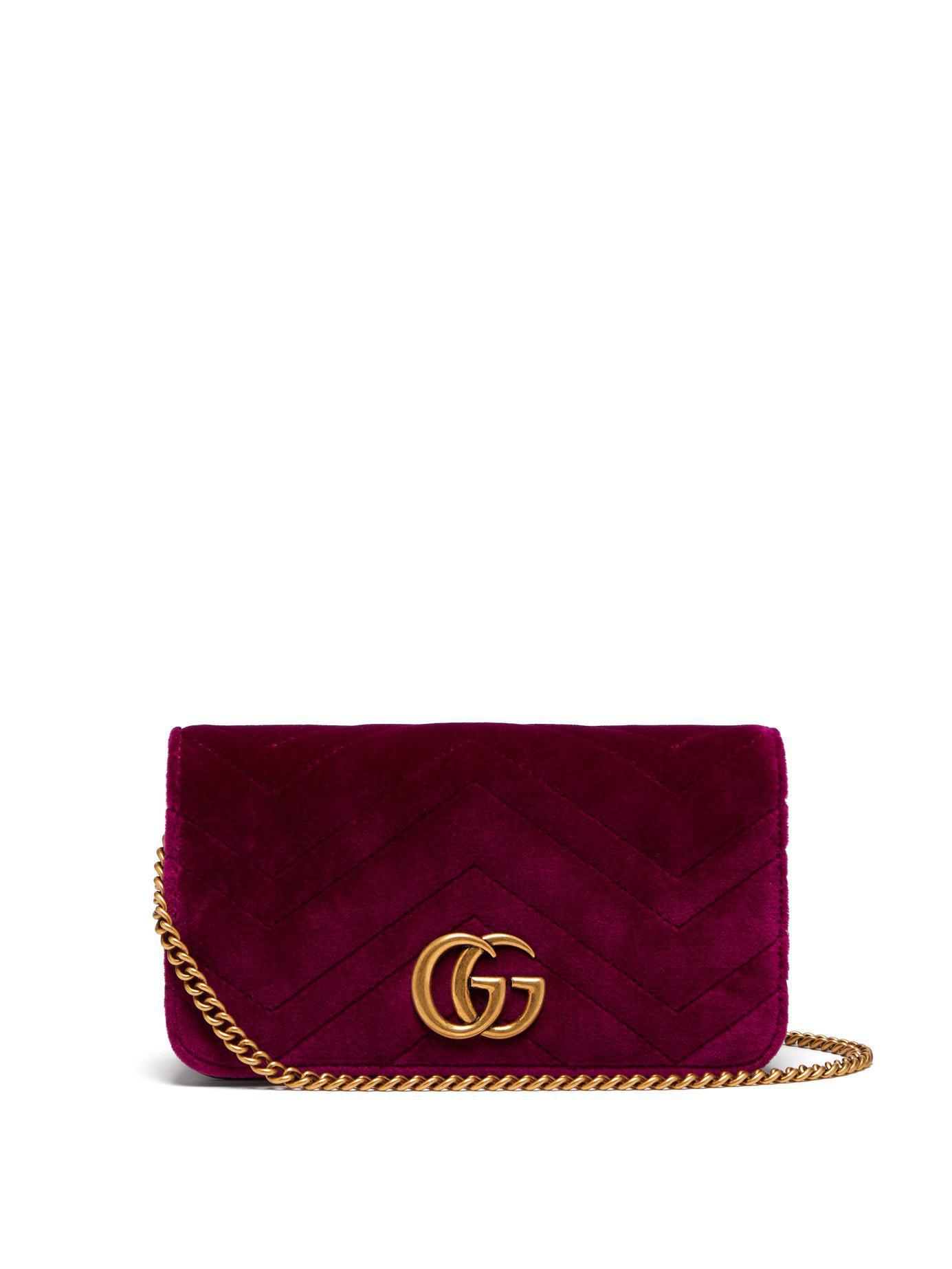 Gucci Marmont Gg Velvet Mini Cross Body Bag in Purple - Save ... 3b104c40f38ab