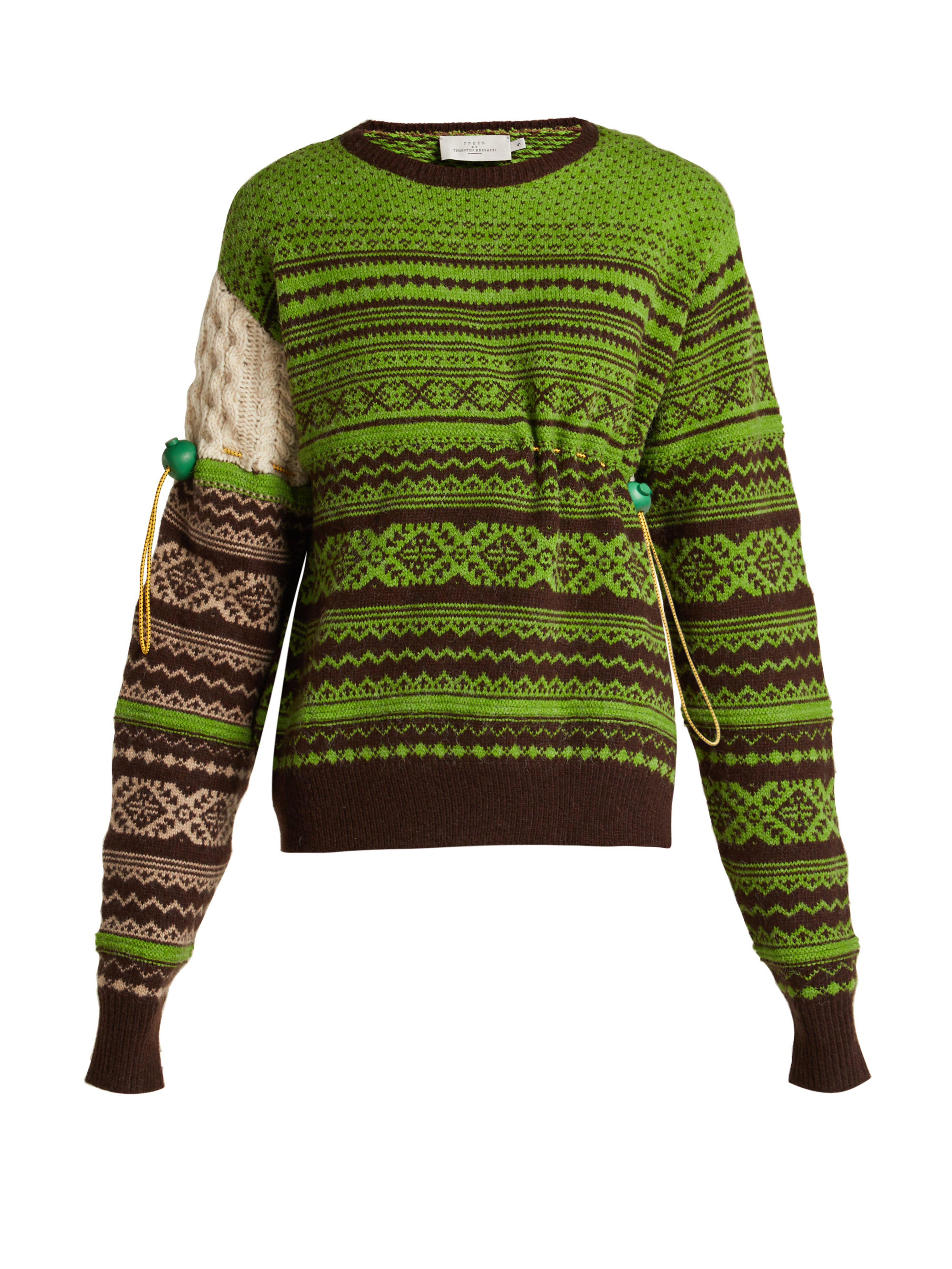 ca9323a8cc Preen By Thornton Bregazzi Moira Fair Isle Knit Wool Blend Sweater in Green  - Save 52% - Lyst