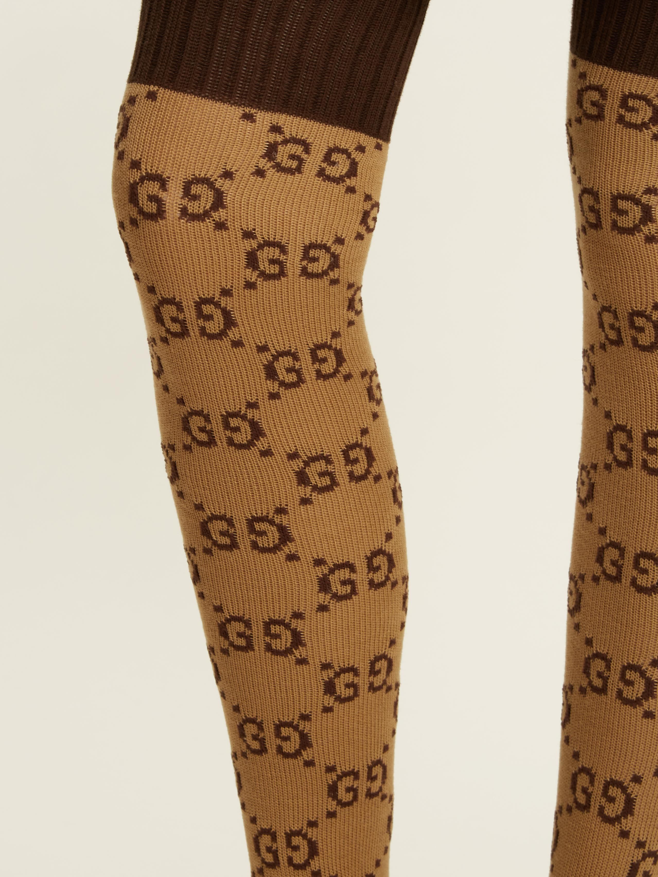 88c846df8ba4d Lyst - Gucci Gg Cotton-blend Over-the-knee Socks in Brown