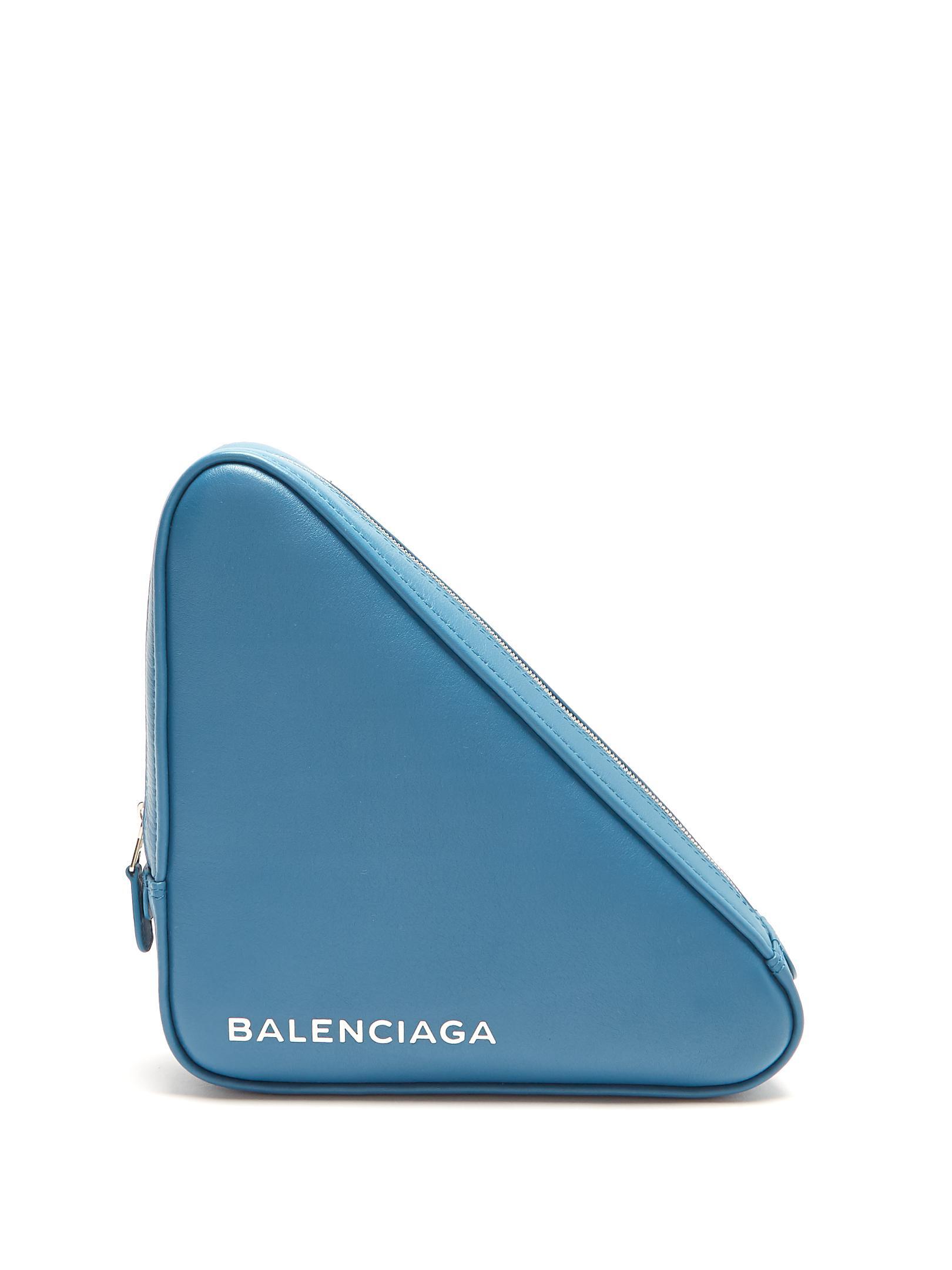 Embrayage En Cuir Triangle Bleu Balenciaga Sortie À Vendre JXKo9DZom
