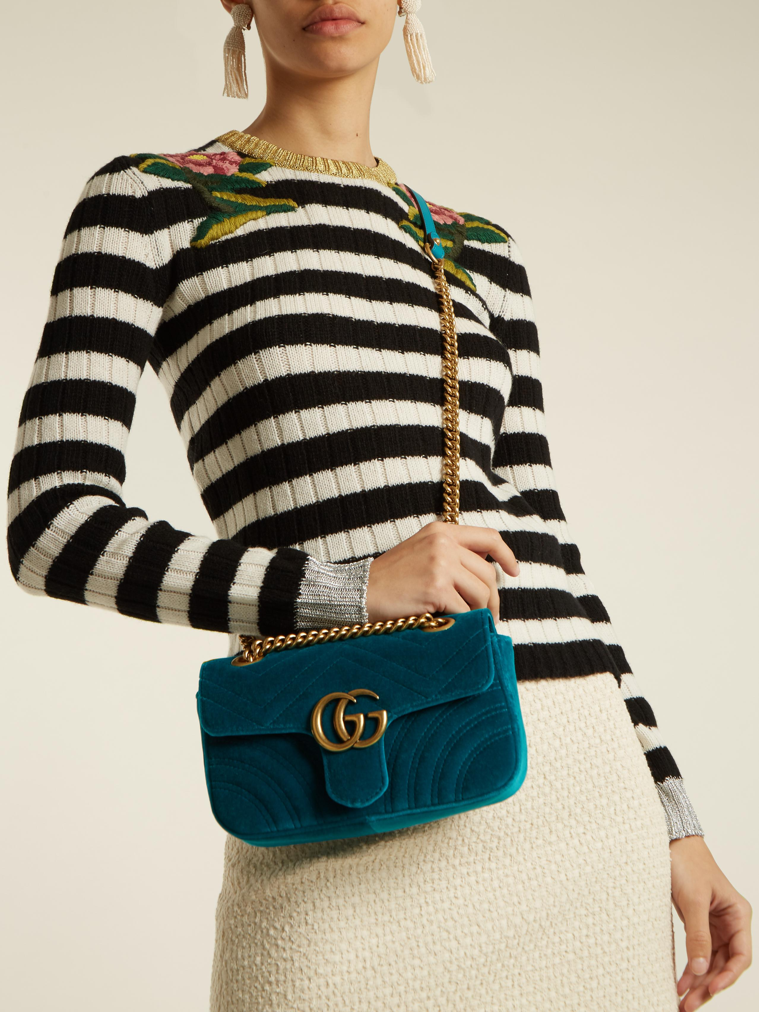 634283c9c05a Gucci Gg Marmont Mini Quilted Velvet Cross Body Bag in Blue - Lyst