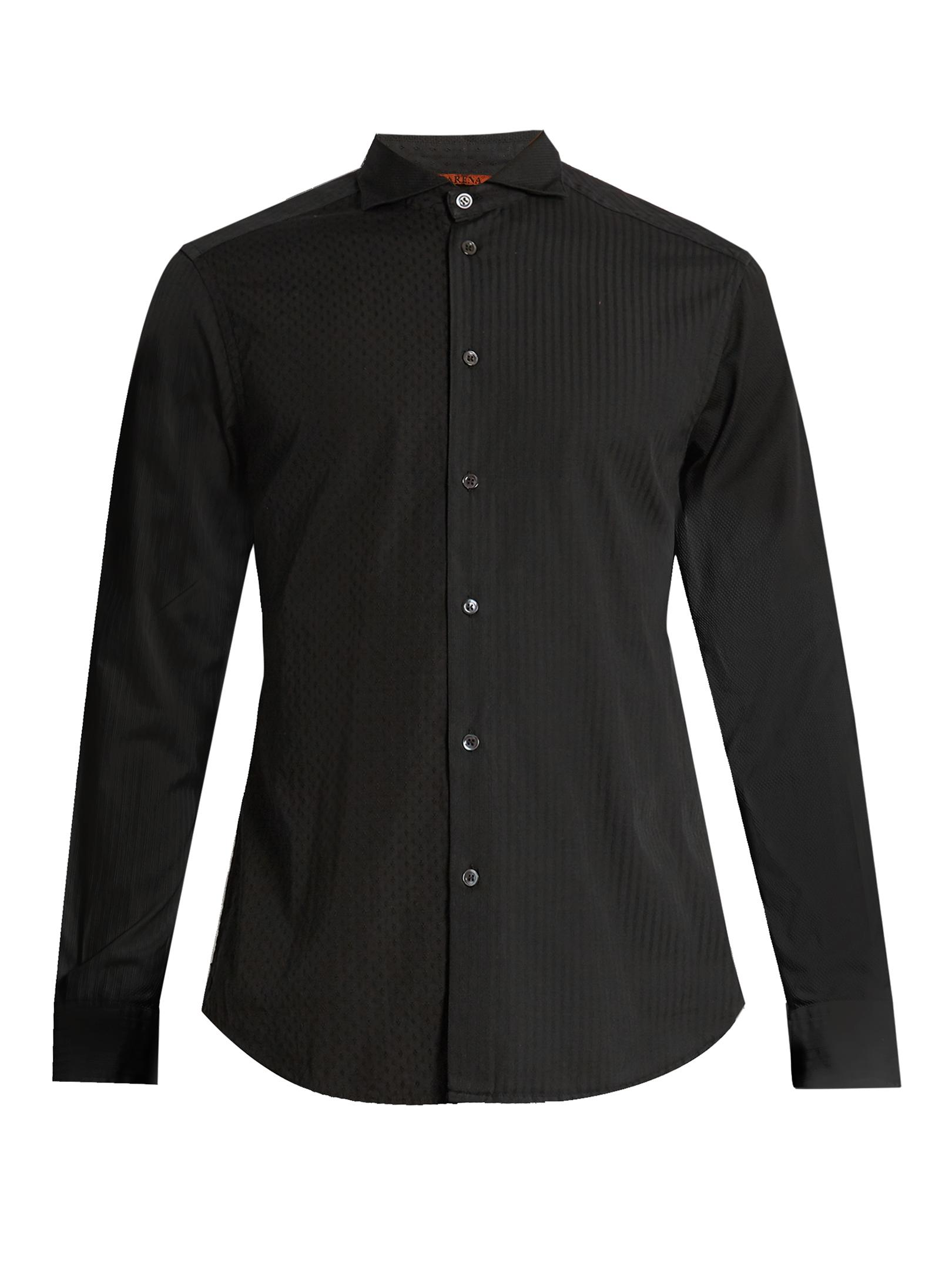 Lyst barena spread collar cotton jacquard shirt in black for Men s spread collar shirts