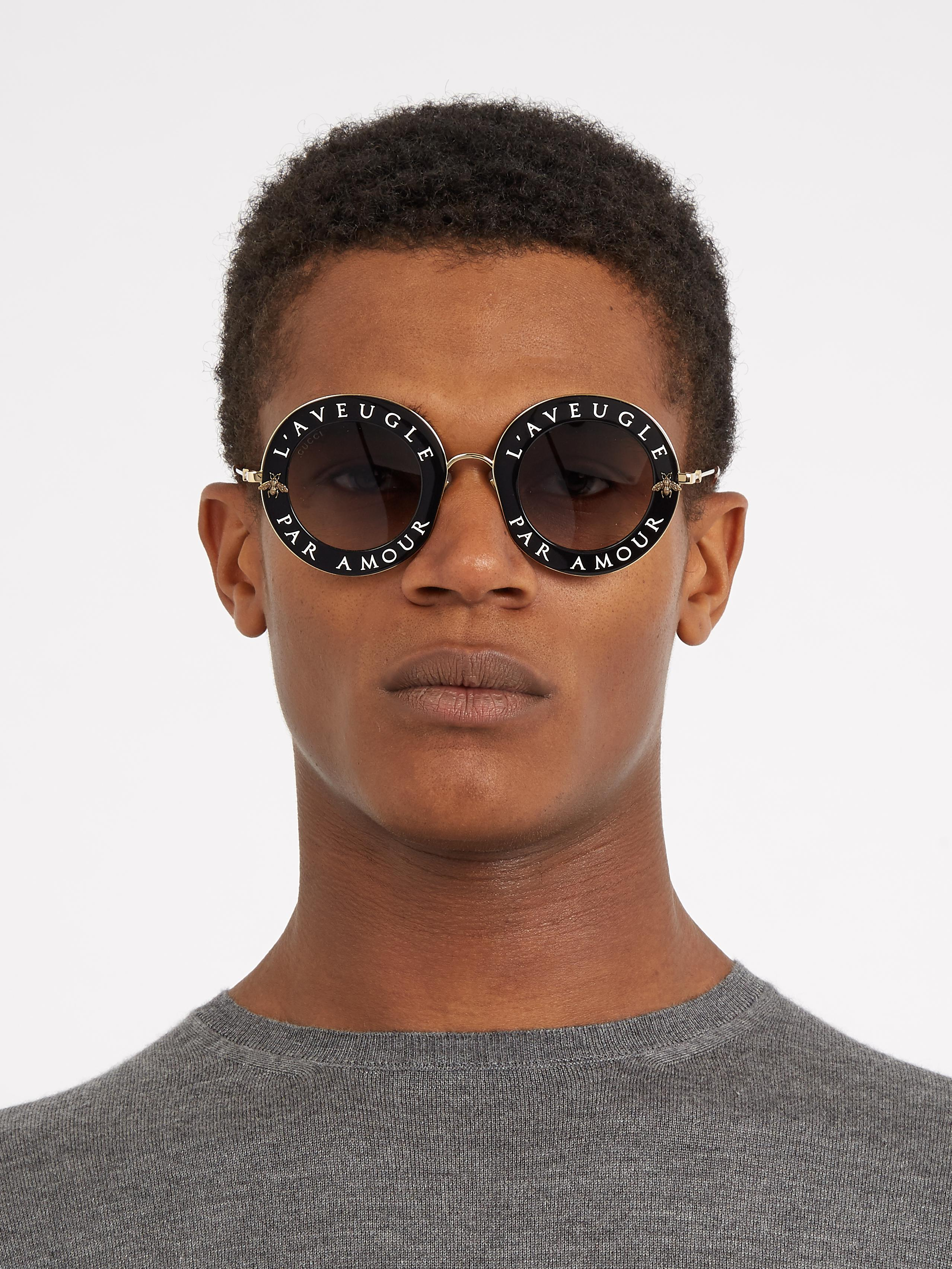 76dffc85f53 Lyst - Gucci L aveugle Par Amour Round-frame Sunglasses in Black for Men