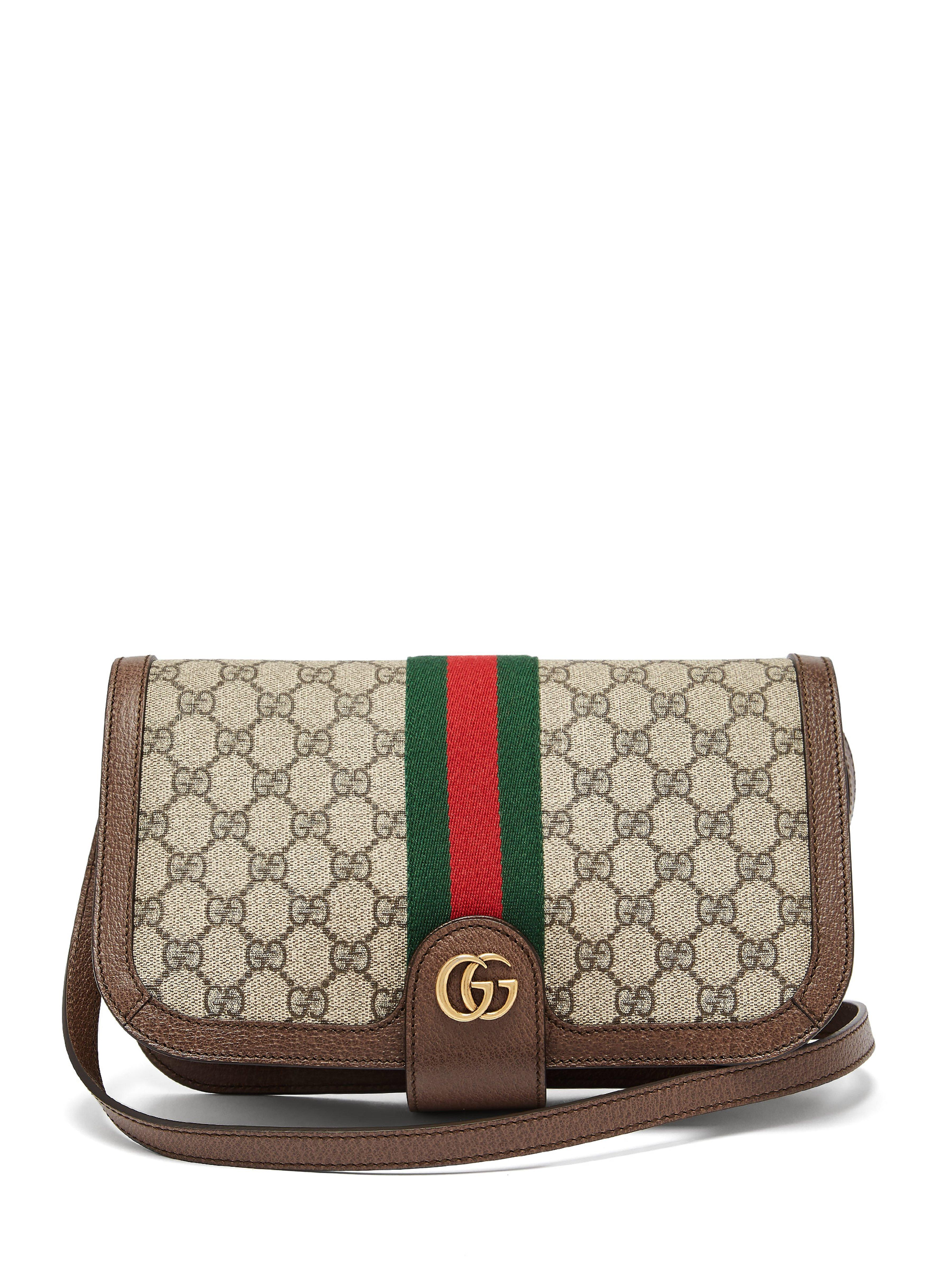 062b2db8010 Gucci Ophidia Gg Supreme Shoulder Bag in Gray - Lyst