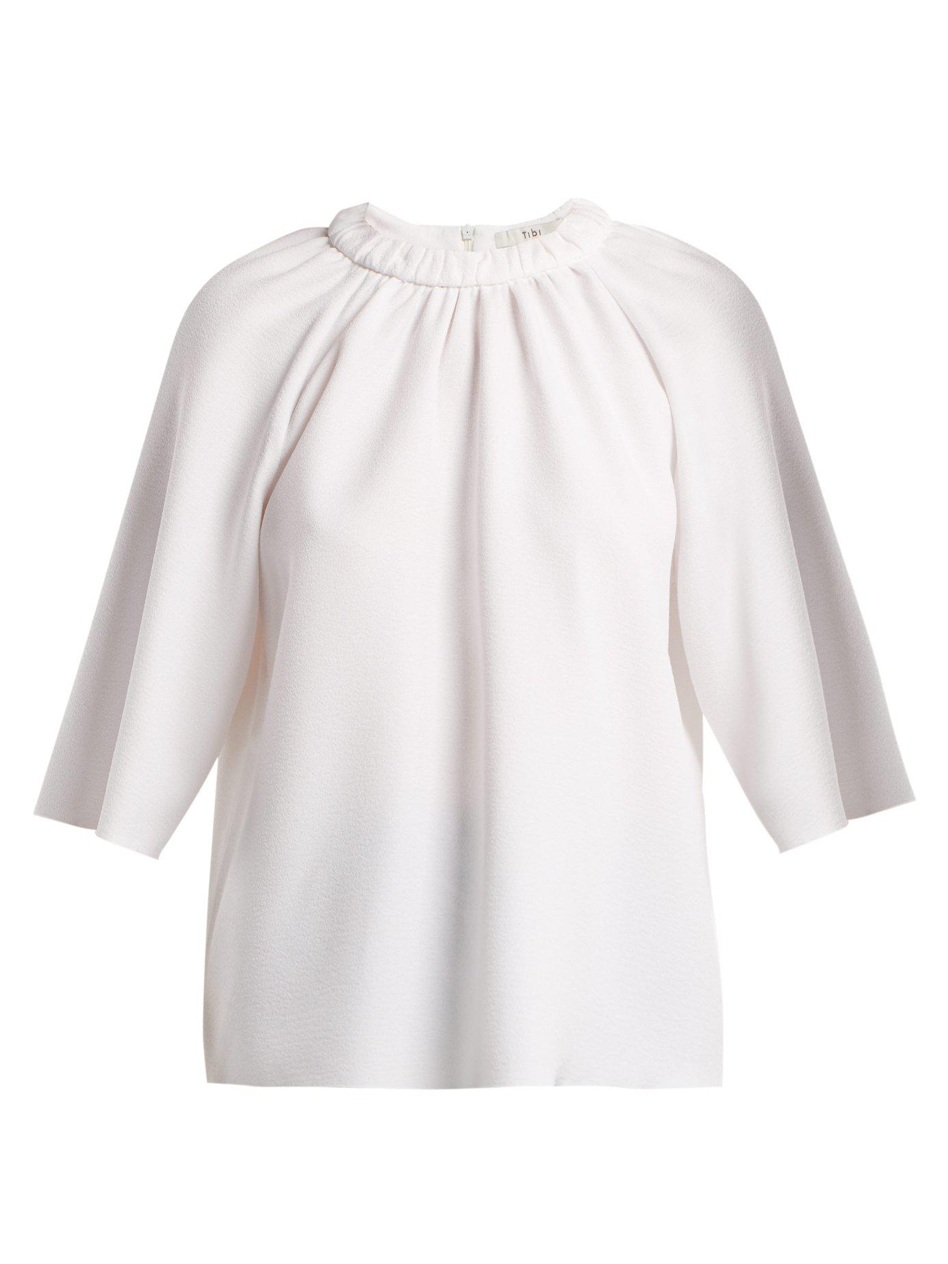 81971ab241ca49 Lyst - Tibi Mica Crepe Shirred Neck Top in White