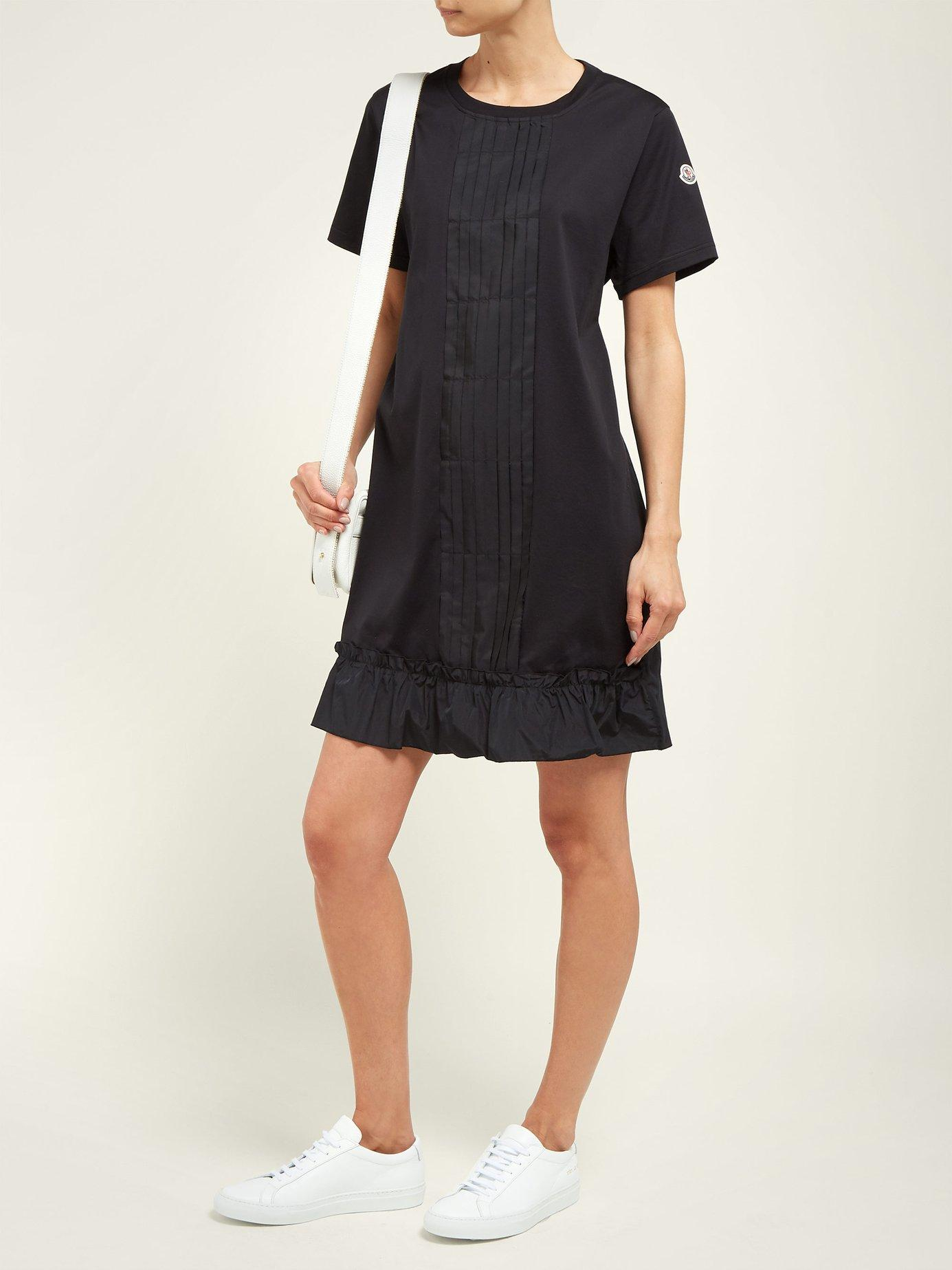 ed4dc37298ea Lyst - Moncler Abito Round Neck Cotton Jersey Dress in Black