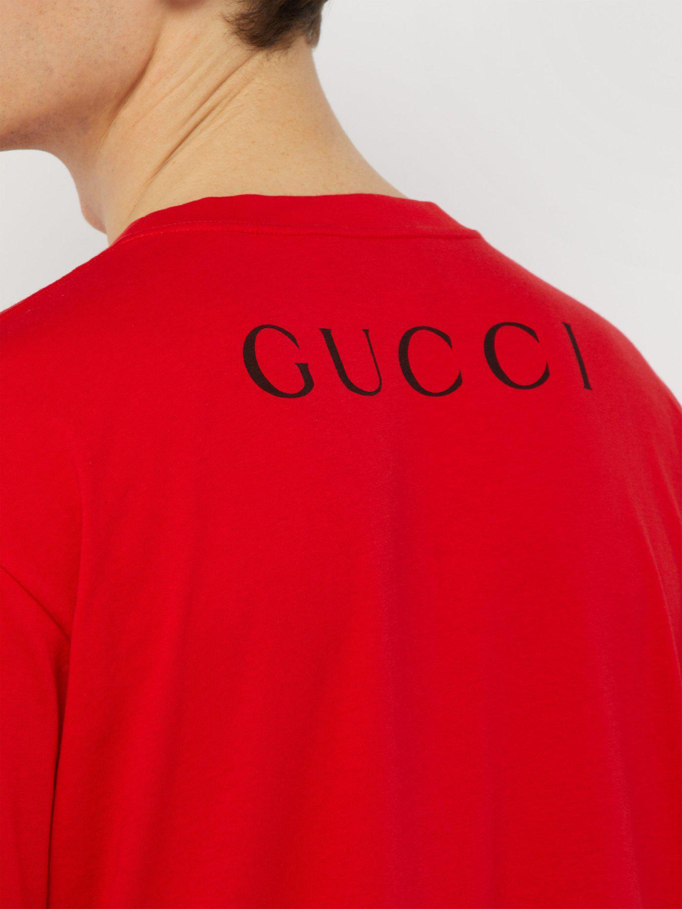 c4e123dc33e Gucci - Red Billy Idol Printed T Shirt for Men - Lyst. View fullscreen